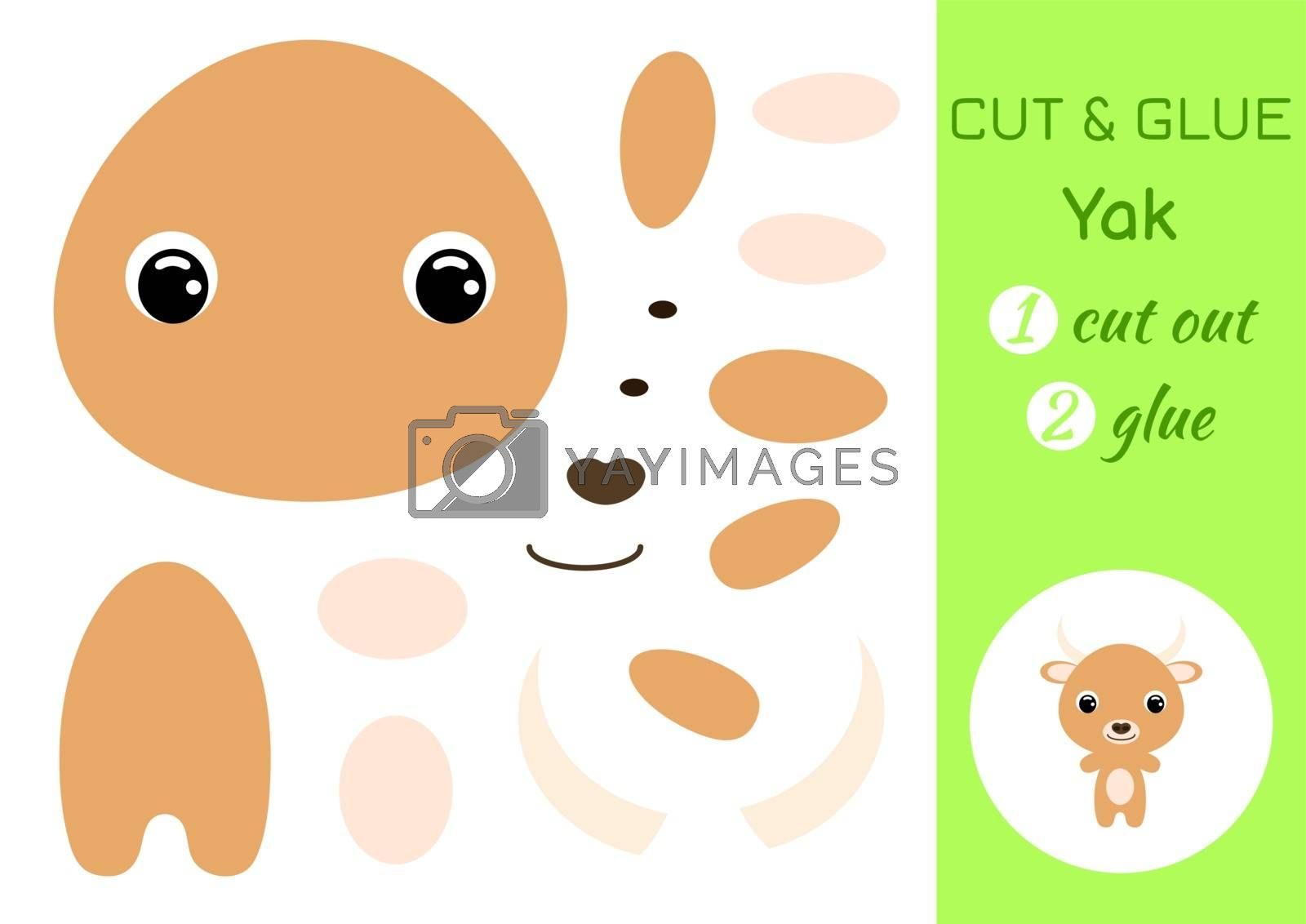 Cut and glue baby yak. Education developing worksheet. Color paper game for preschool children. Cut parts of image and glue on paper. Cartoon character. Colorful vector stock illustration.