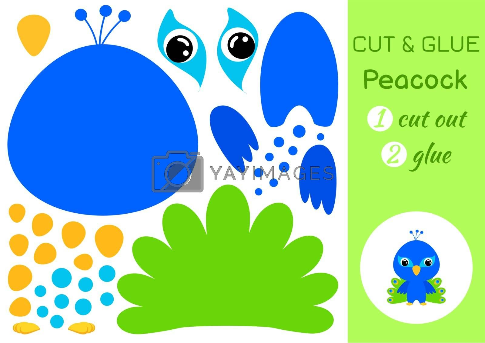 Cut and glue baby peacock. Education developing worksheet. Color paper game for preschool children. Cut parts of image and glue on paper. Cartoon character. Colorful vector stock illustration.