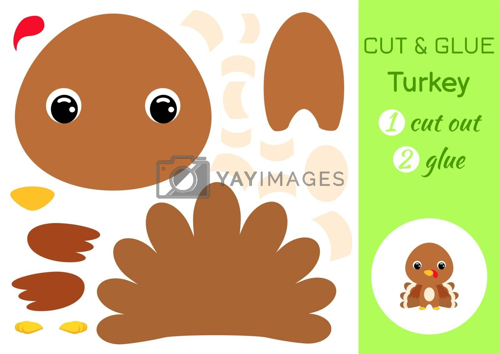 Cut and glue baby turkey. Education developing worksheet. Color paper game for preschool children. Cut parts of image and glue on paper. Cartoon character. Colorful vector stock illustration.
