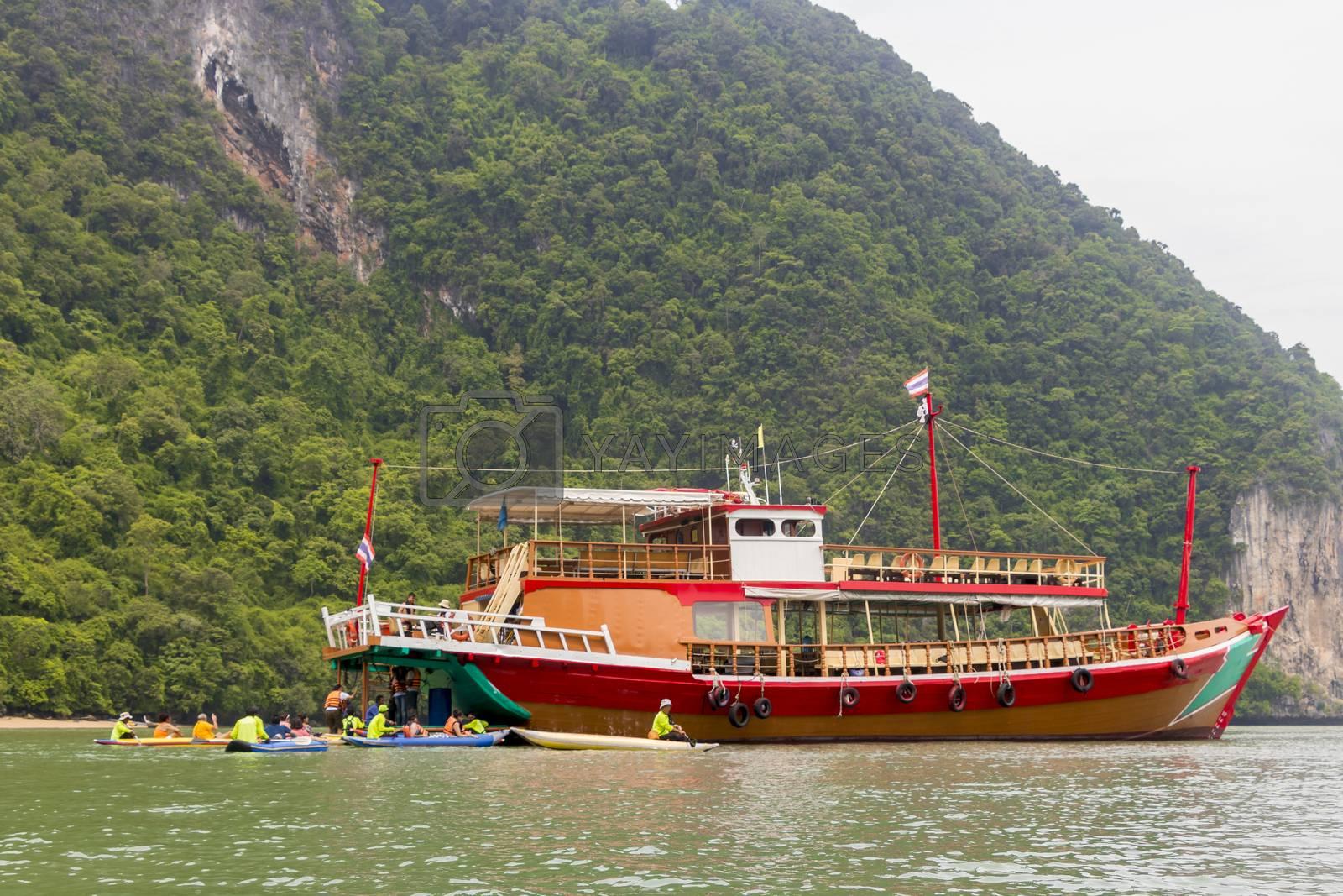 Boat for trip and tourism Ko Hong island in Thailand. Phan Nga Phan-Nga Bay.