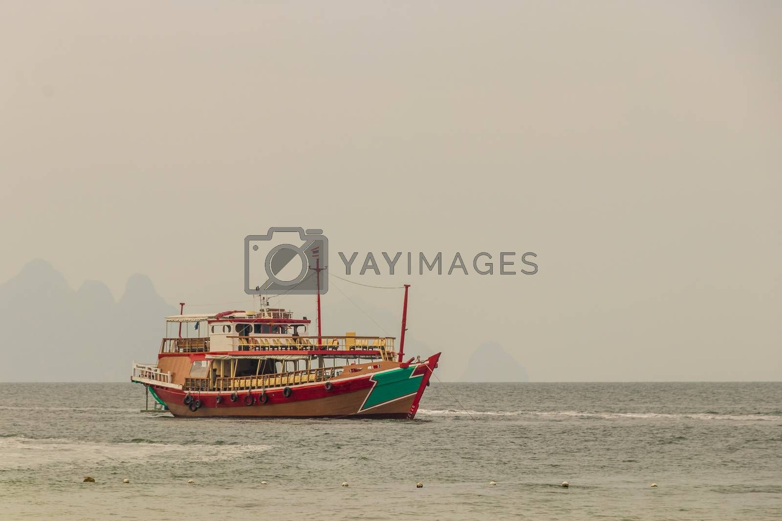 Boat for trip and tourism in Thailand. Phan Nga Phan-Nga Bay.