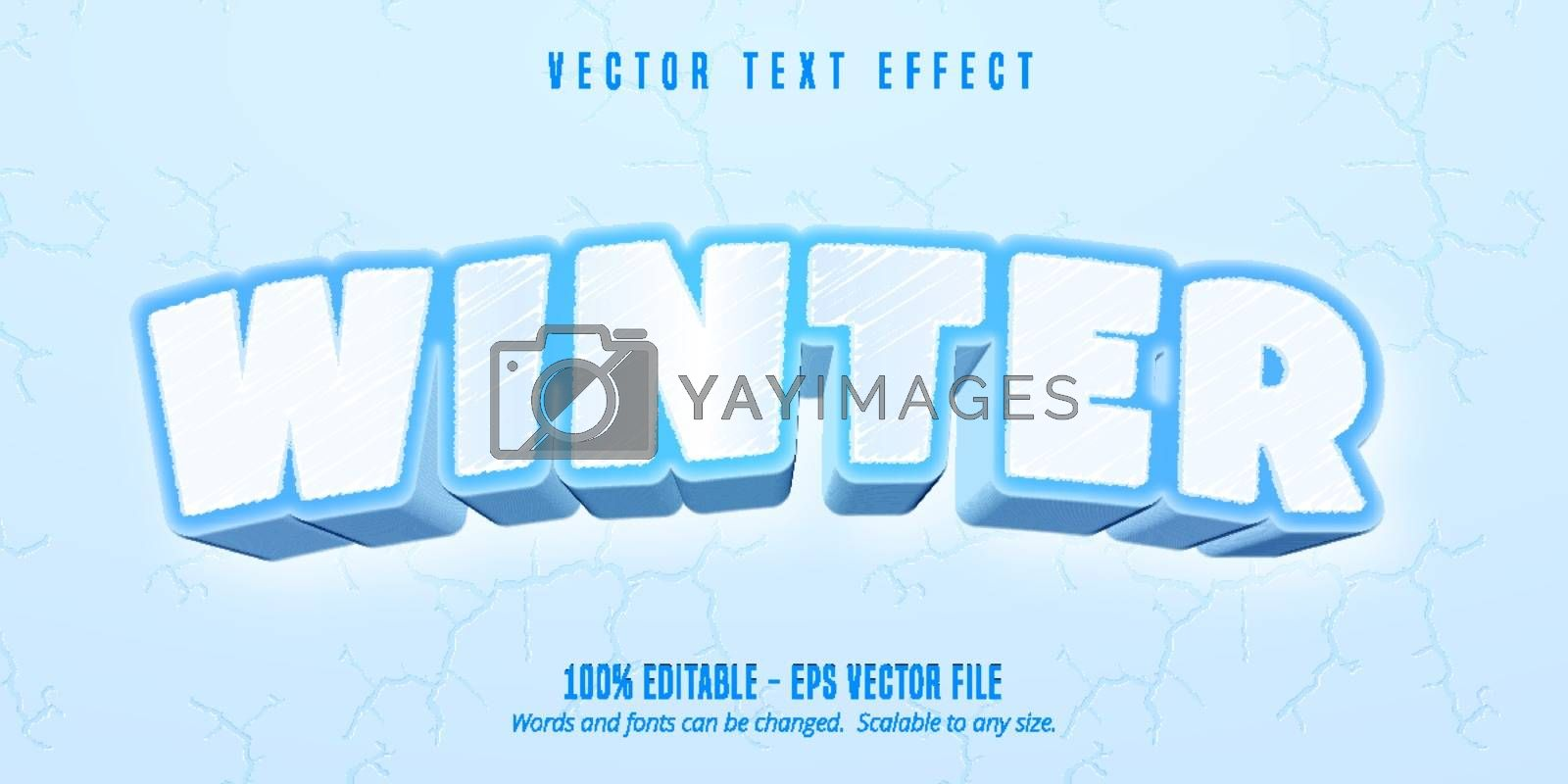 Winter text, cartoon game style editable text effect