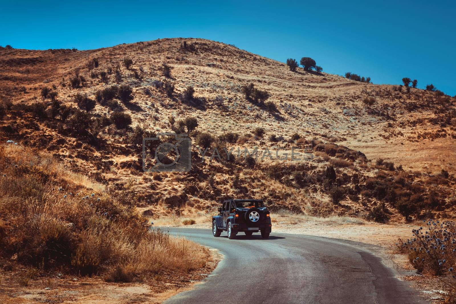 Traveling In the Big Comfortable Jeep along Mountainous roads of Lebanon. Beautiful Wild Mountains. Picturesque View. Active Summer Vacation.