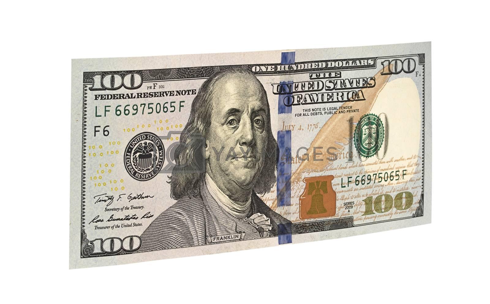 100 american dollars. American money isolated