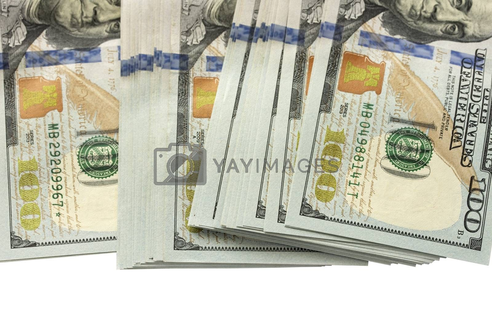 American dollars. Packs of dollars isolated