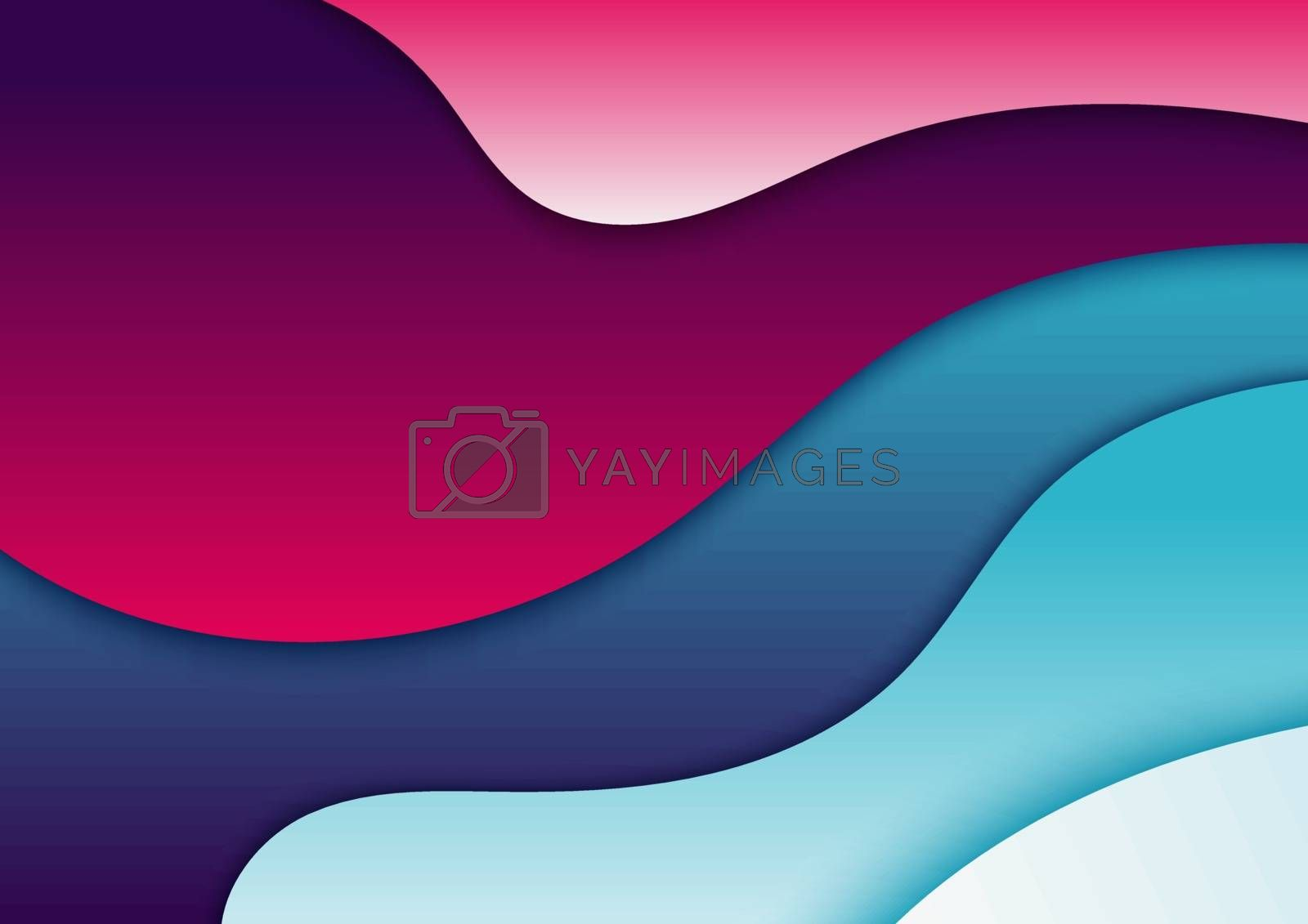 Abstract fluid gradient shapes trendy background. Wave shape vibrant color. Vector illustration