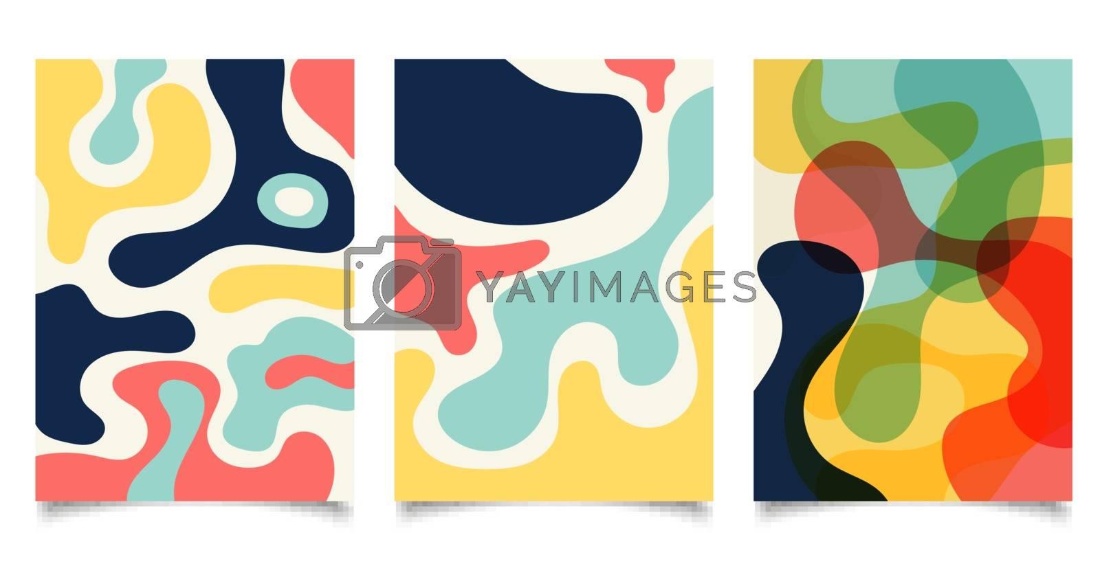 Set of brochure template organic shapes design background. Minimal style. Vector illustration