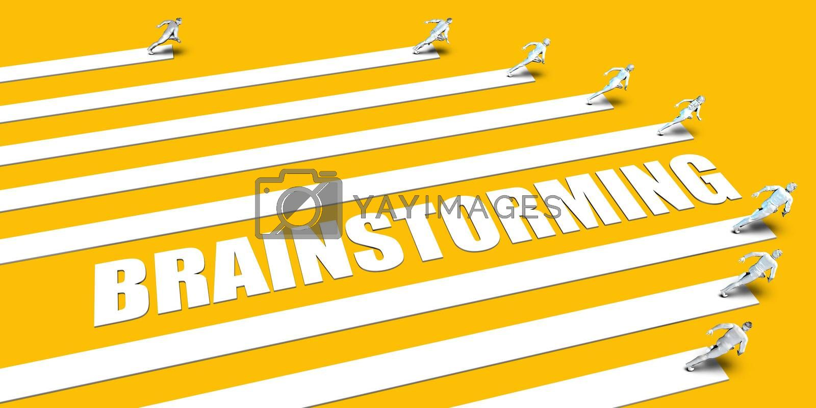 Brainstorming Concept with Business People Running on Yellow