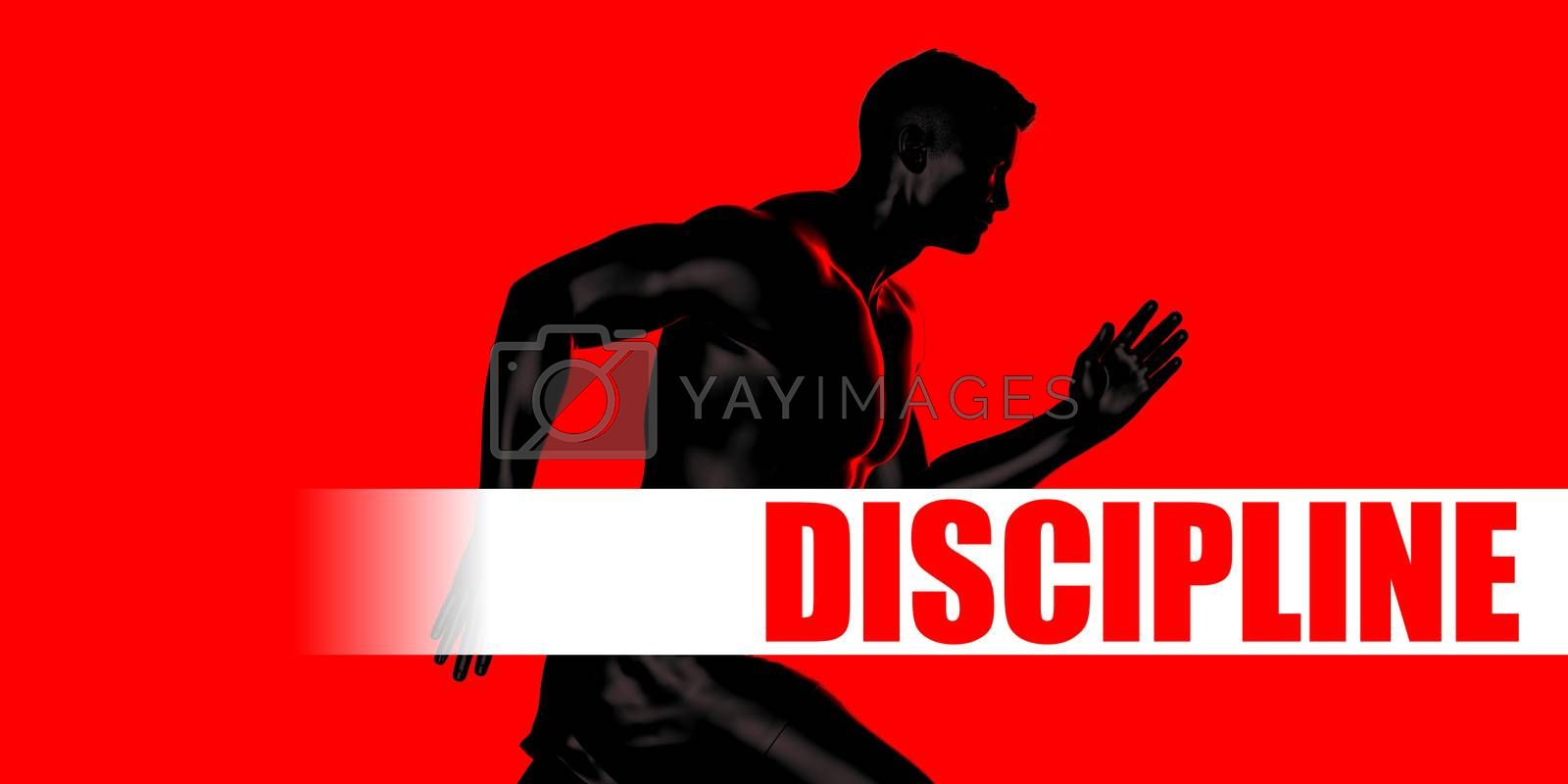 Discipline Concept with Fit Man Running Lifestyle