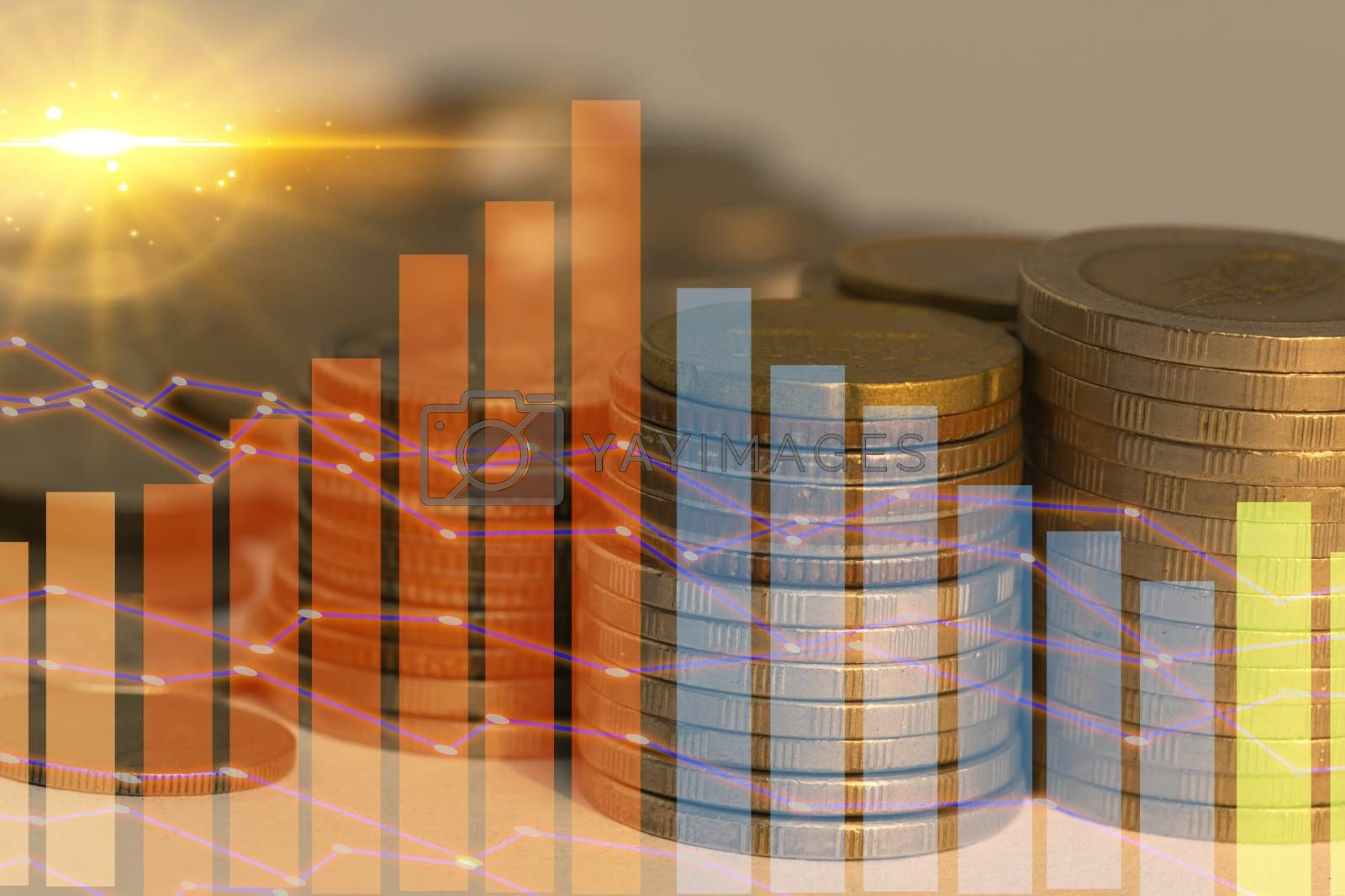 Abstract stacked coin ideas report investment and savings financial valuation.
