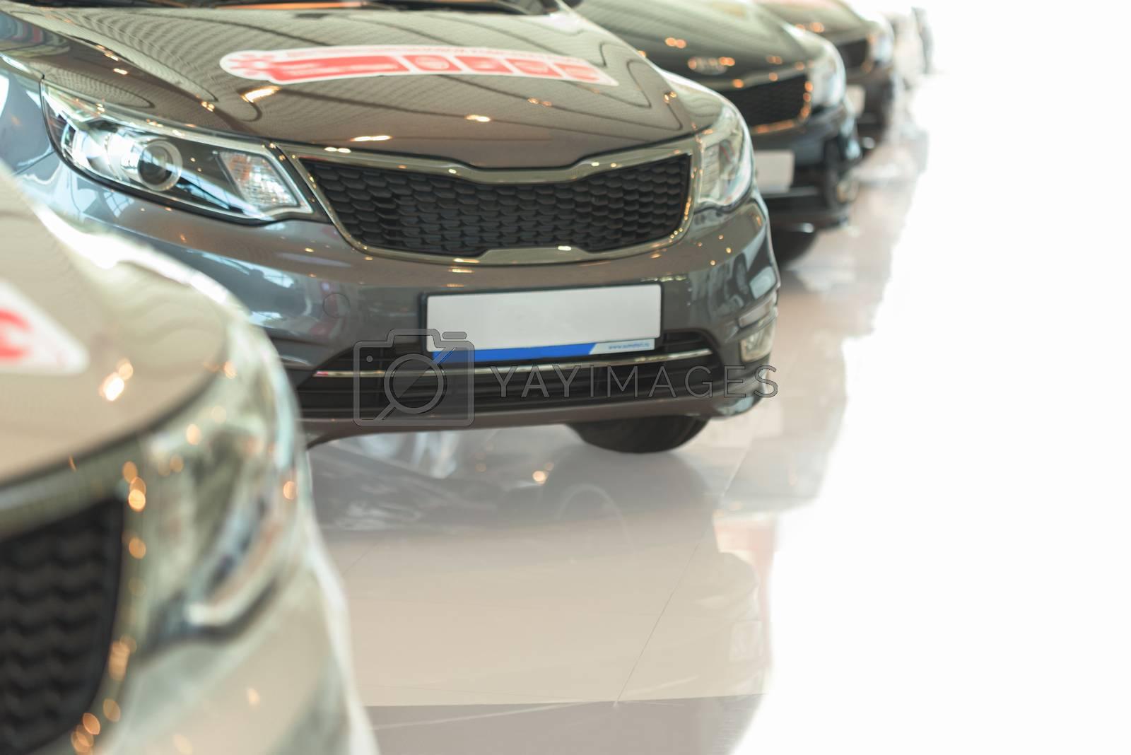 Car sales. Automobile in sales salon. Cars for sale