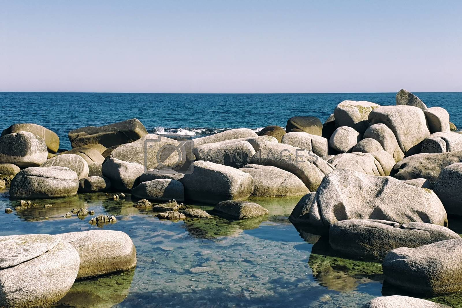 Boulders on the coast. Boulders beach view