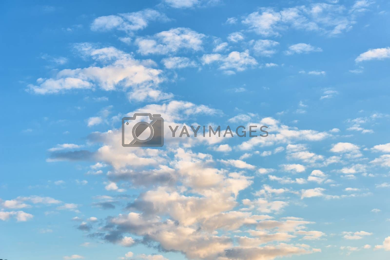 White clouds in the sky. Blue sky with clouds
