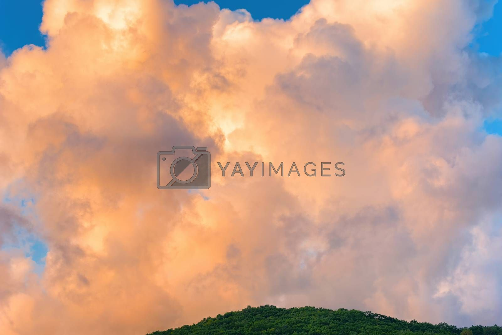 Dramatic sky with cloud at sunset. Clouds in the sky.