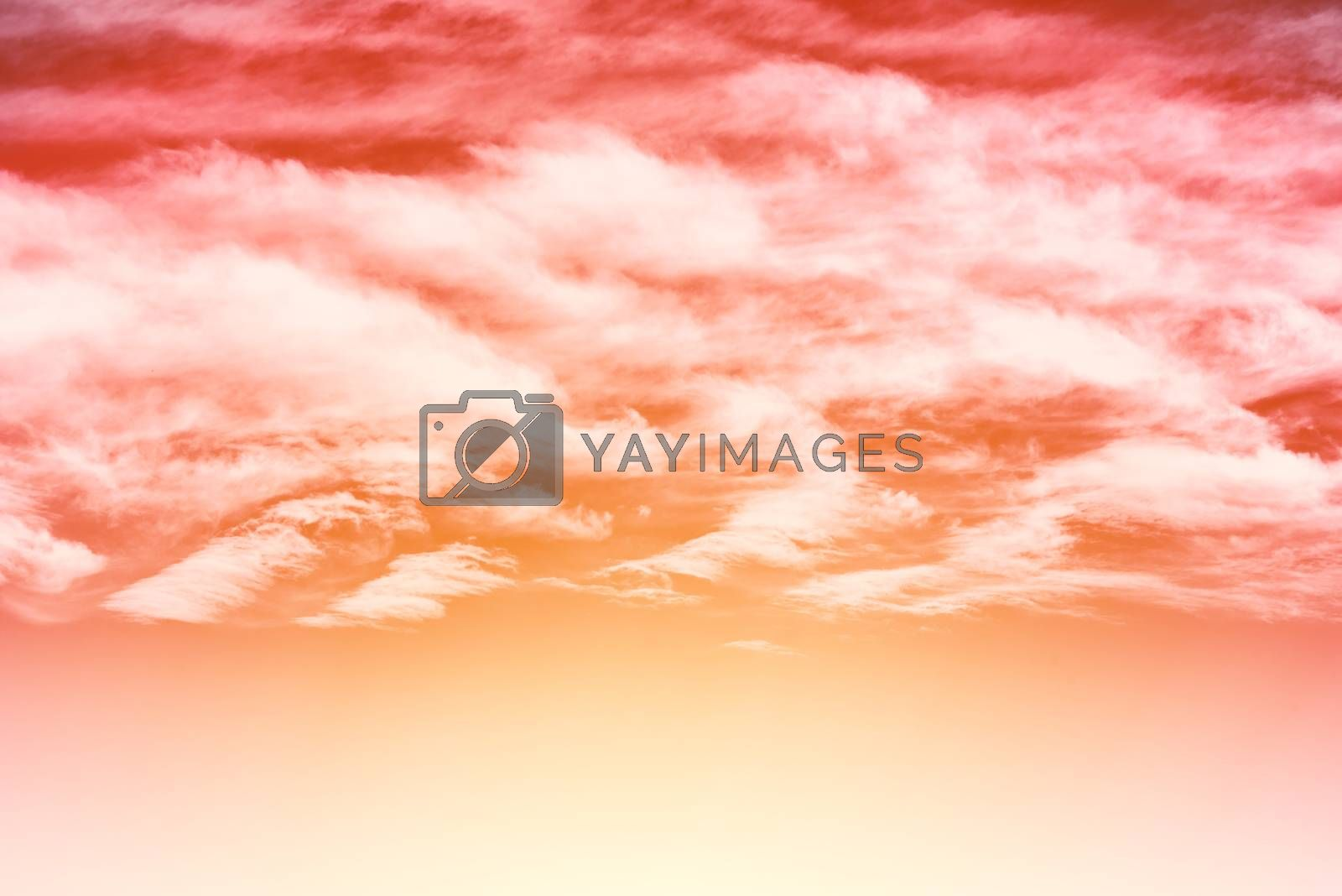 Dramatic red sky. Clouds in the sky.