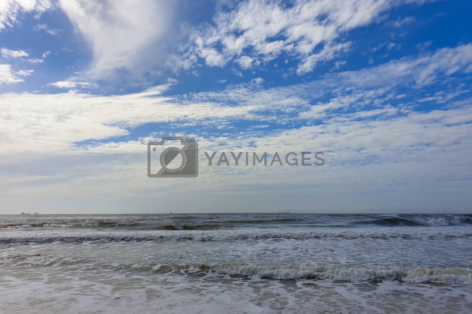 Muddy sea. Seascape and cloudy sky. Waves of muddy sea
