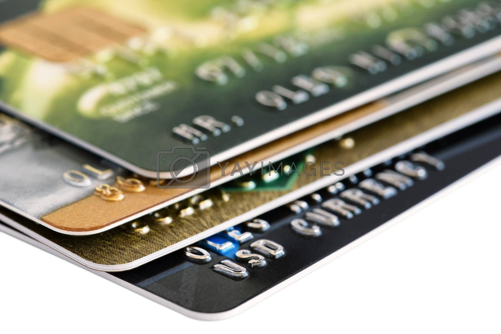 Credit card close-up. Plastic card for payments. Credit card isolated