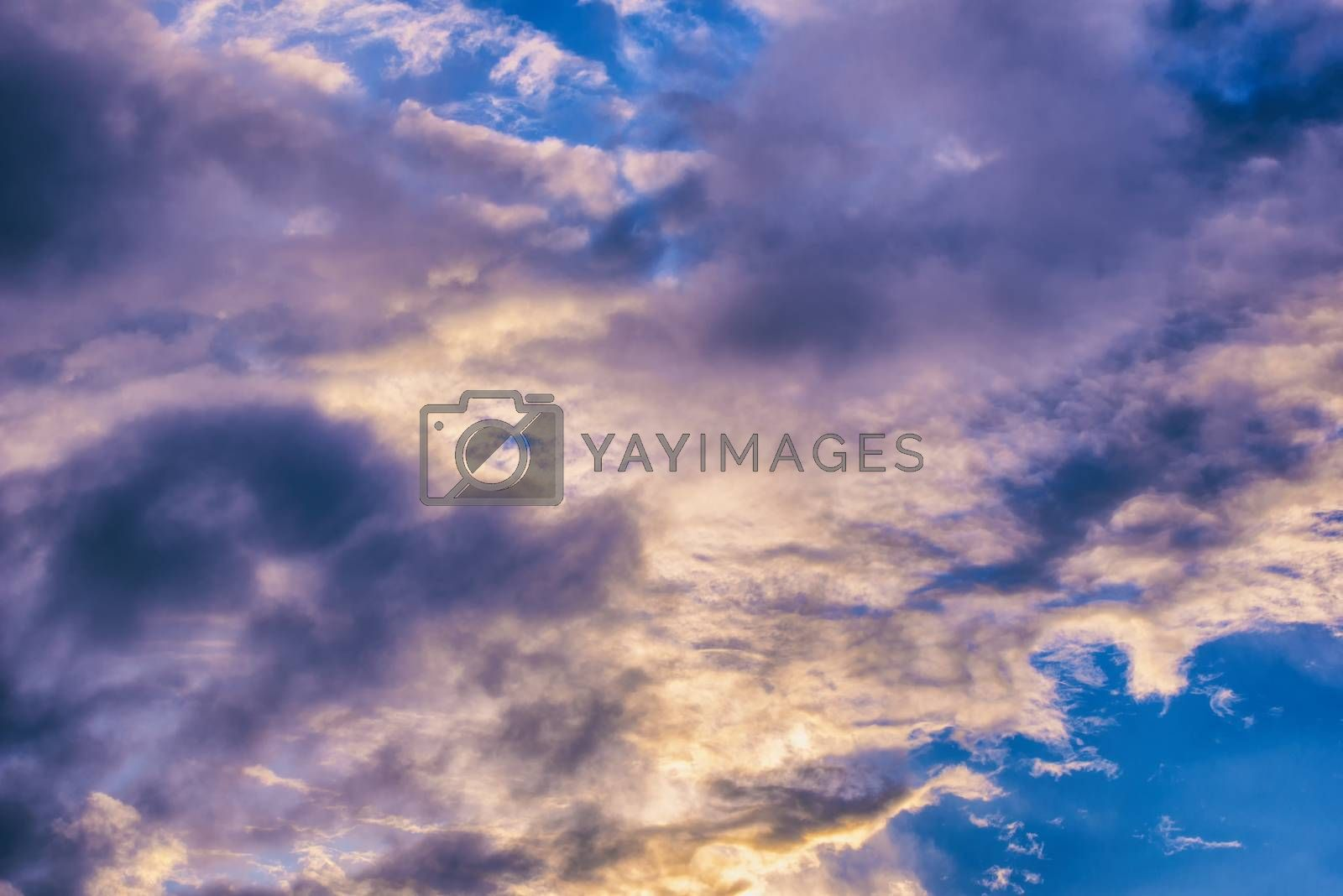 Dramatic sky background. Seascape with dramatic sky and colorful clouds