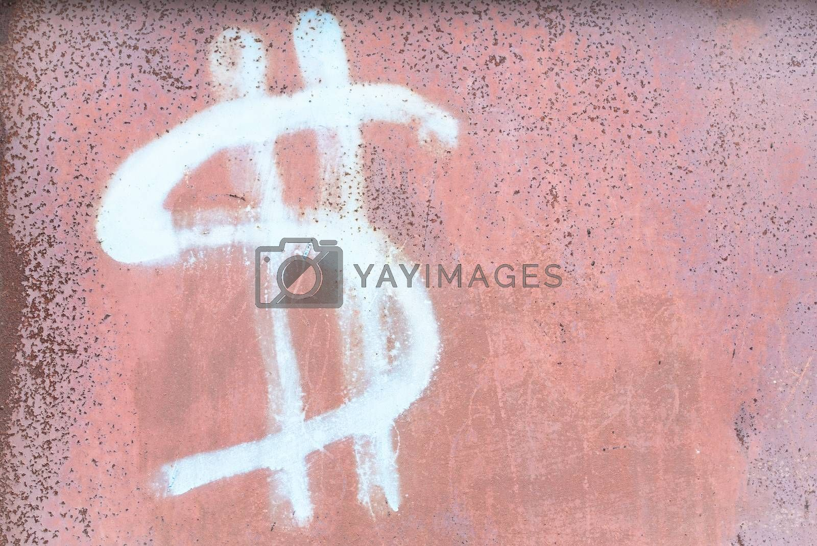 Dollar sign on the wall. Dollar signs background