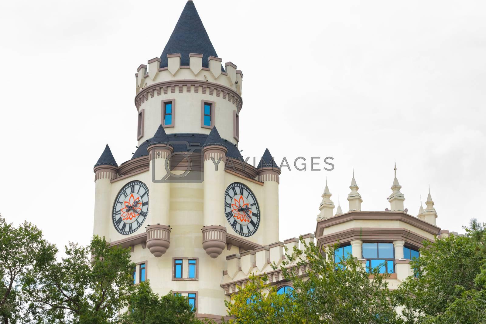 Facade of a modern castle. White building in Harbin