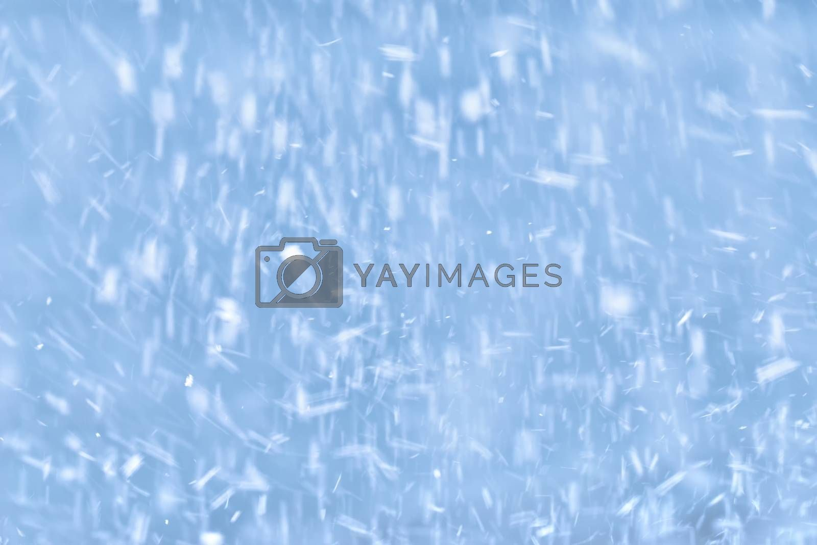 Falling snow on a blue background. Winter blue sky with falling snow
