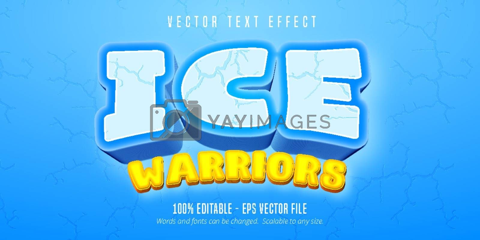 Ice warriors text, cartoon game style editable text effect