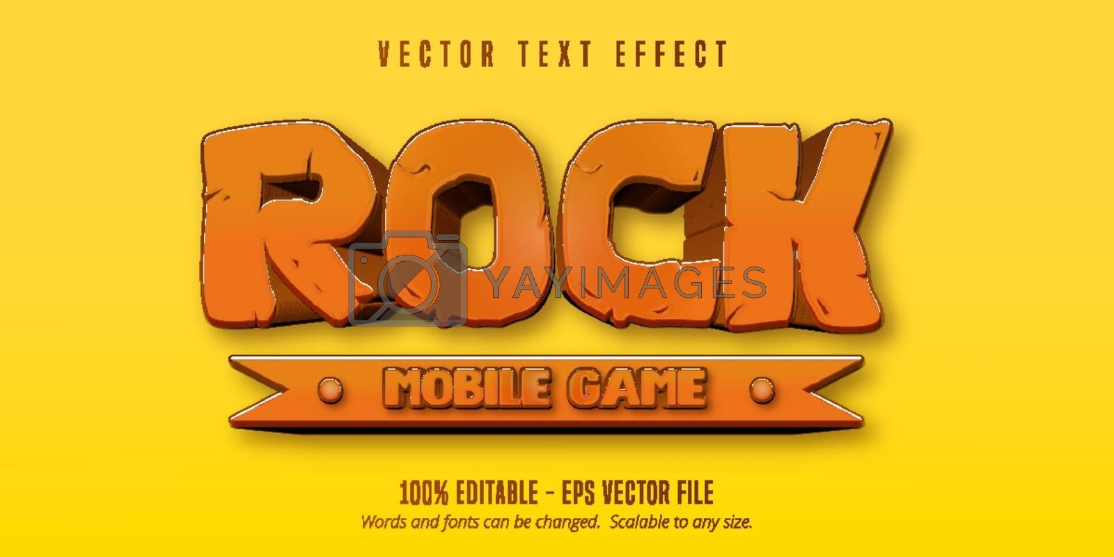 Rock mobile game text, cartoon game style editable text effect