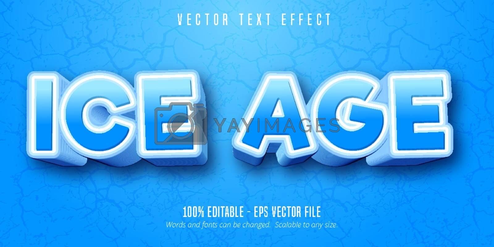 Ice age text, cartoon style editable text effect