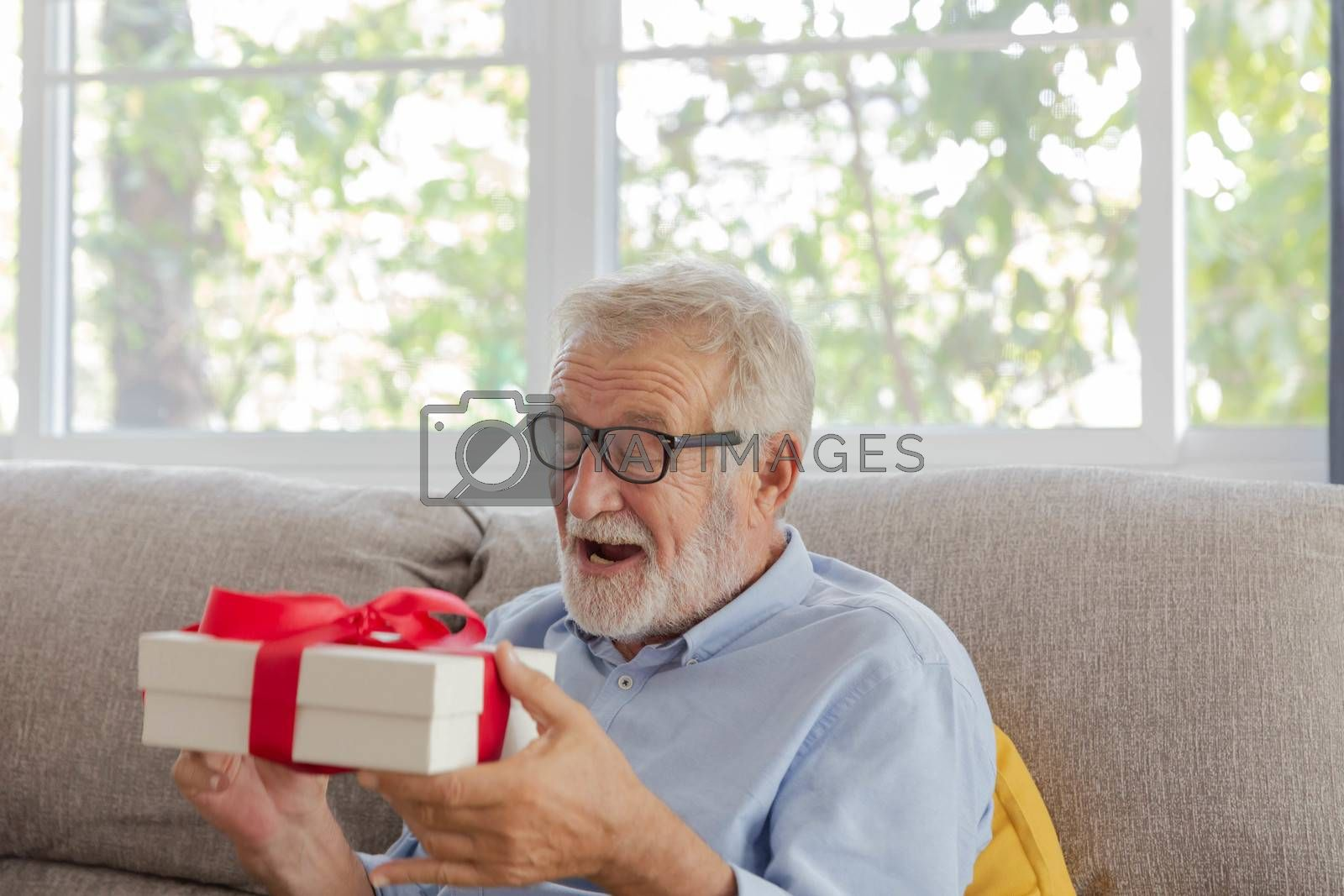 Senior retirement man is happy with his surprise birthday gift on sofa in his house