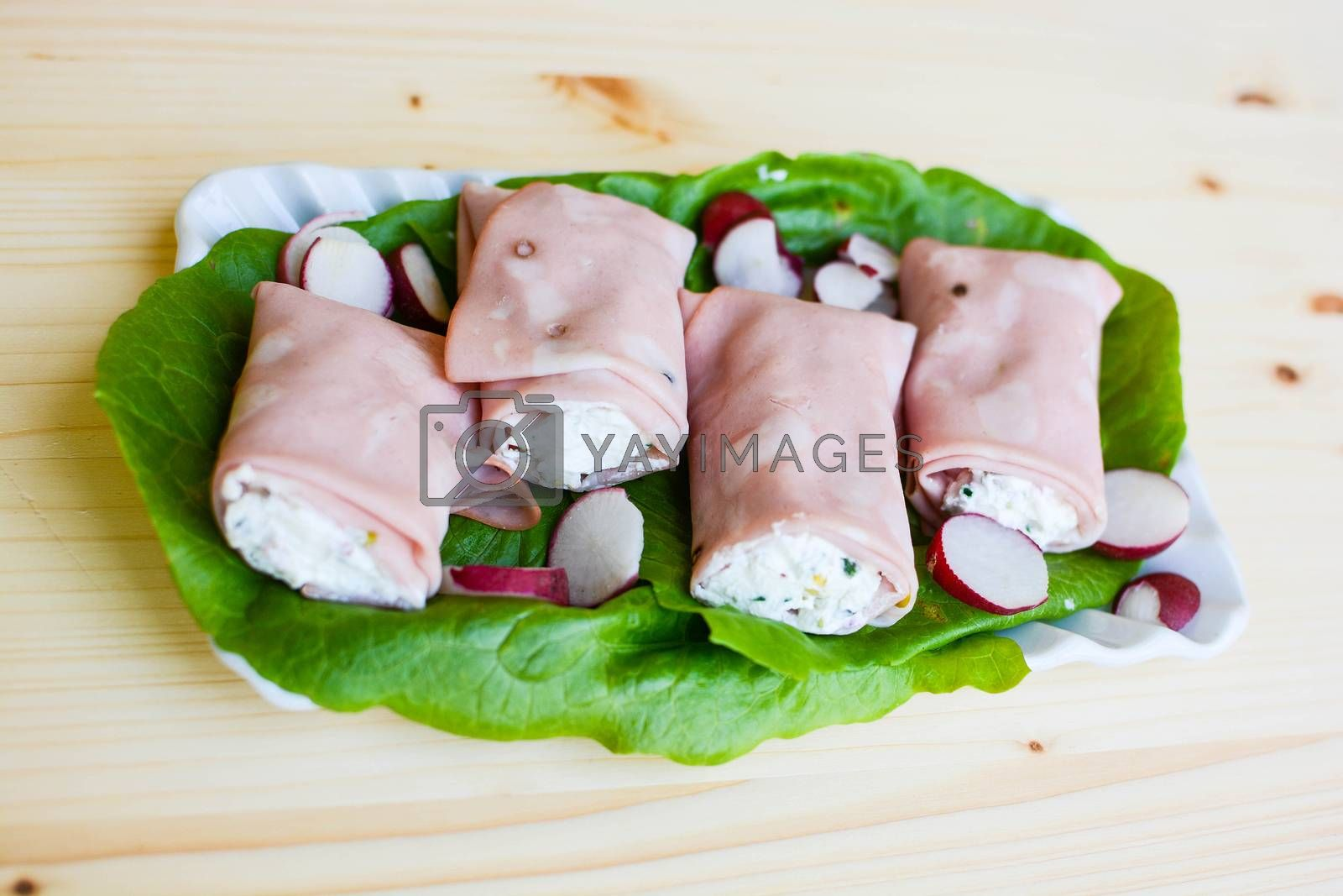 appetizer italian  mortadella rolls filled with ricotta and sesame