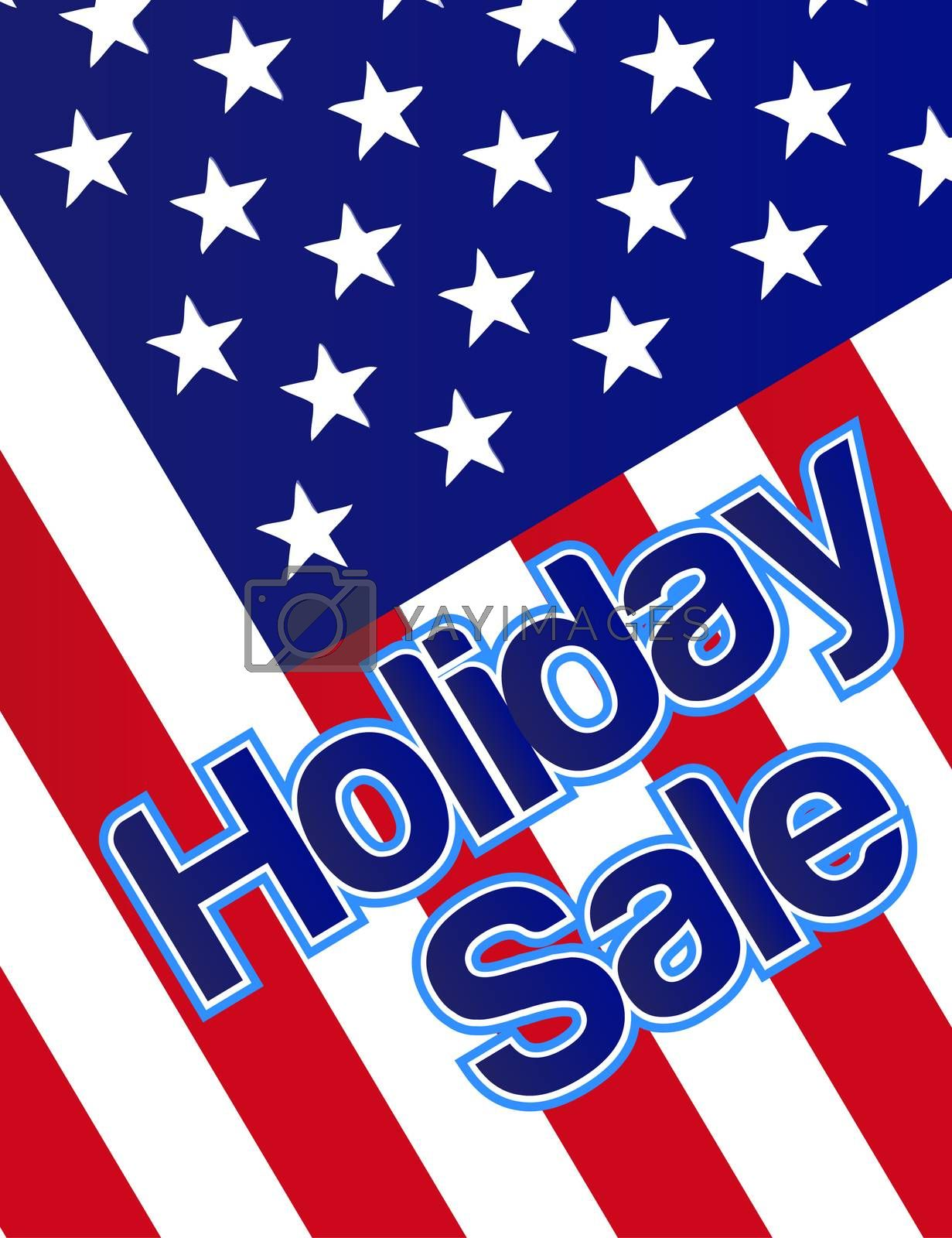 Holiday sale banner with the american flag as a background.
