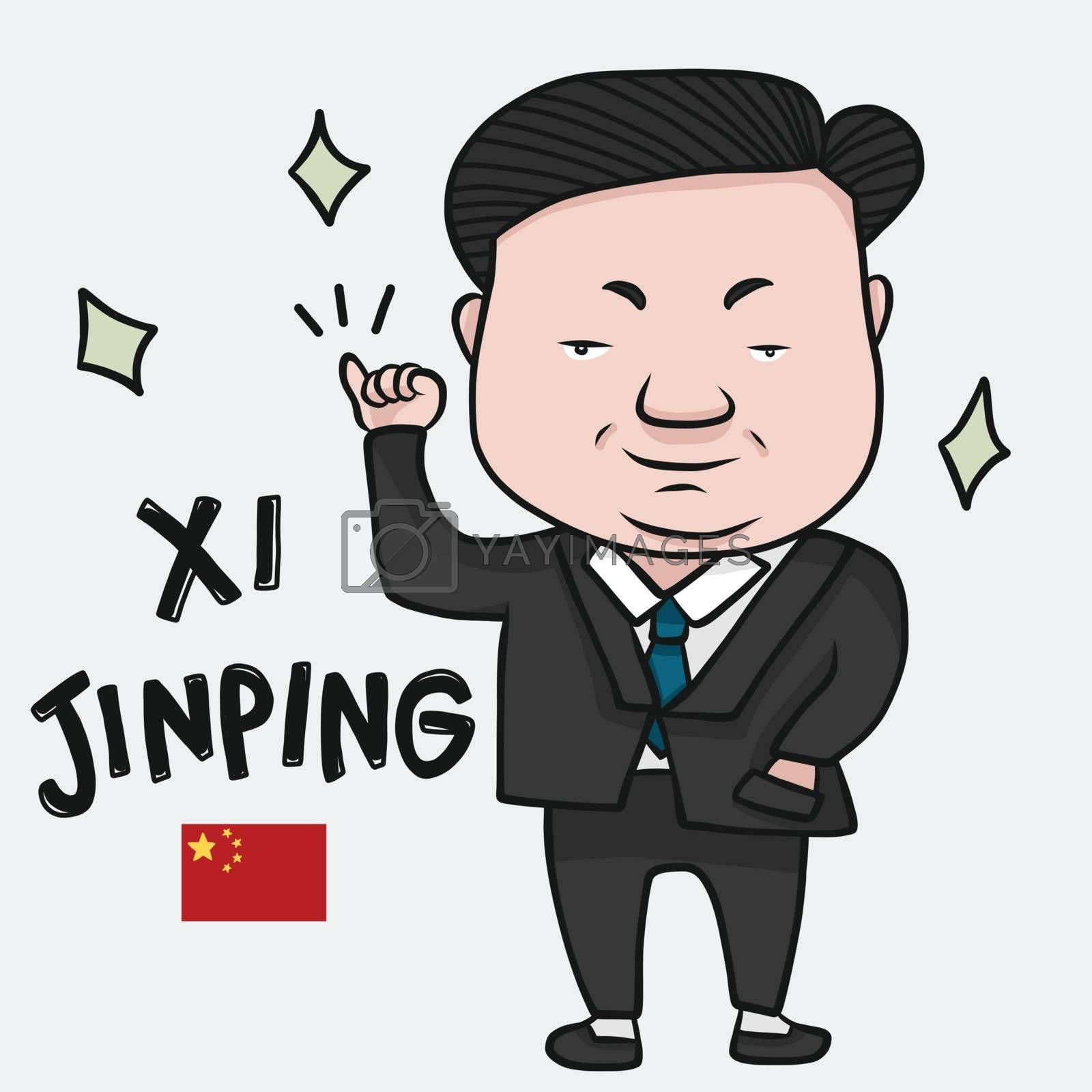 Xi Jinping cartoon Drawing editorial illustration, President of the People's Republic of China - Vector