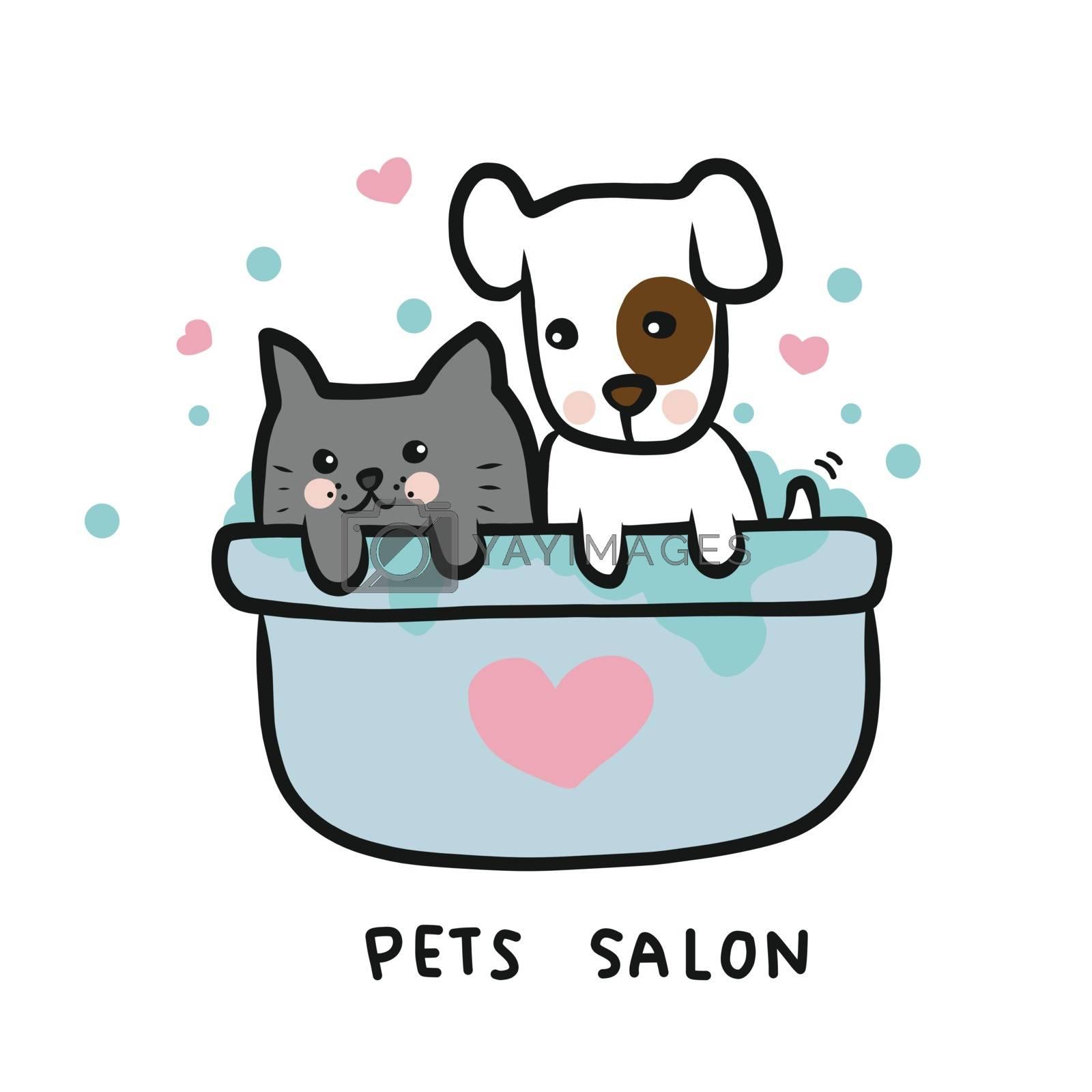 Dog and cat in shower bathtub , pets salon cartoon vector illustration doodle style