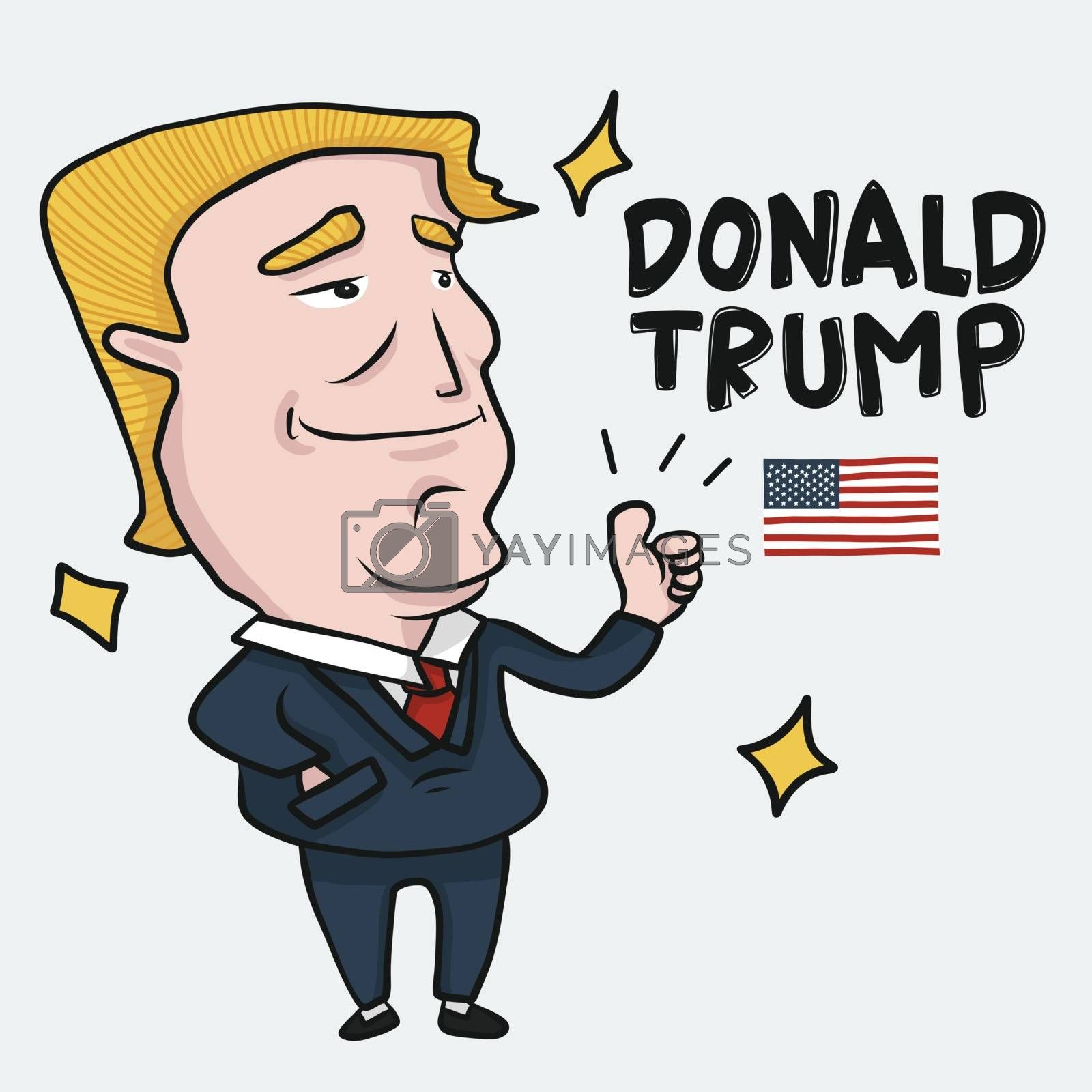 Donald Trump cartoon Drawing editorial illustration, 45th President of the United States - Vector
