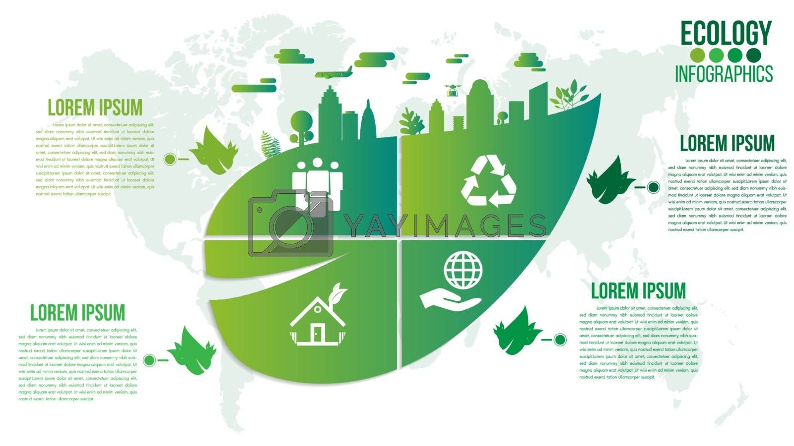 Ecology infographics green friendly environment with leaf and world map vector design layout.Recycle system element sustainable growth.Green concept with 4 options, parts, steps or points.