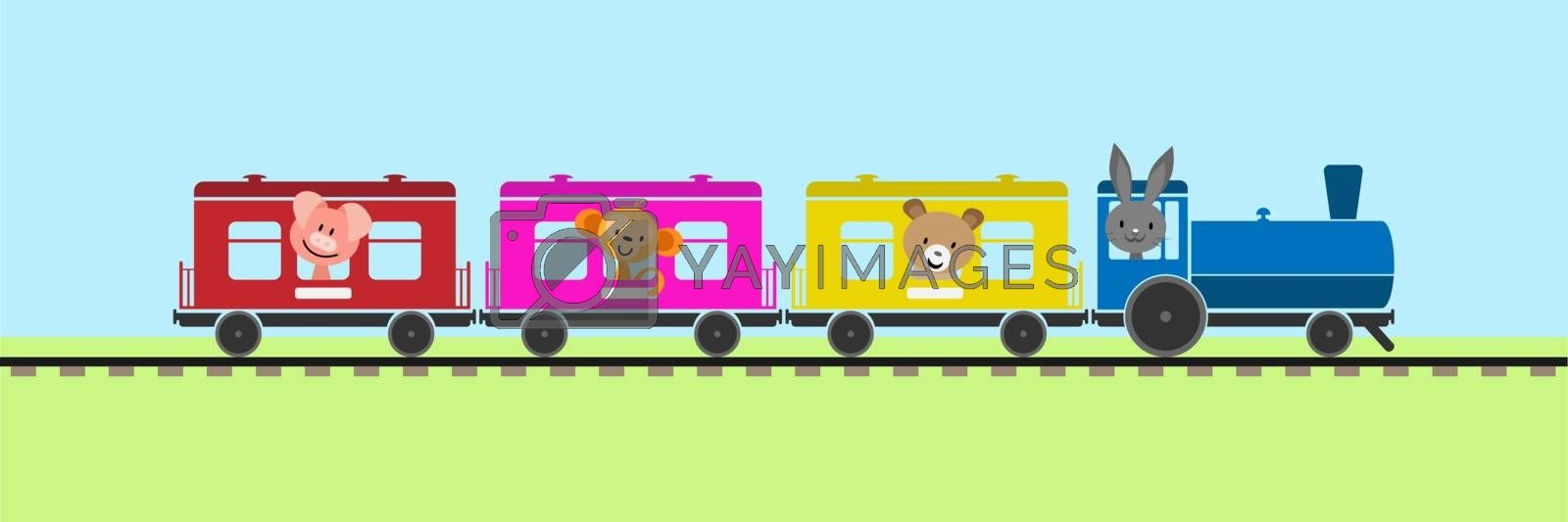 Simple colored children's train with cars and steam locomotive carrying animals