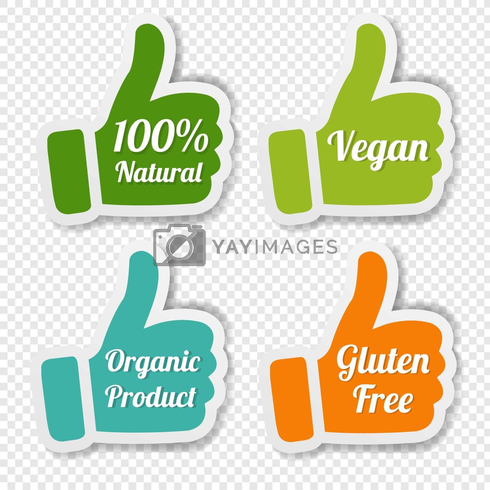 Natural Labels Set Isolated Transparent background With Gradient Mesh, Vector Illustration