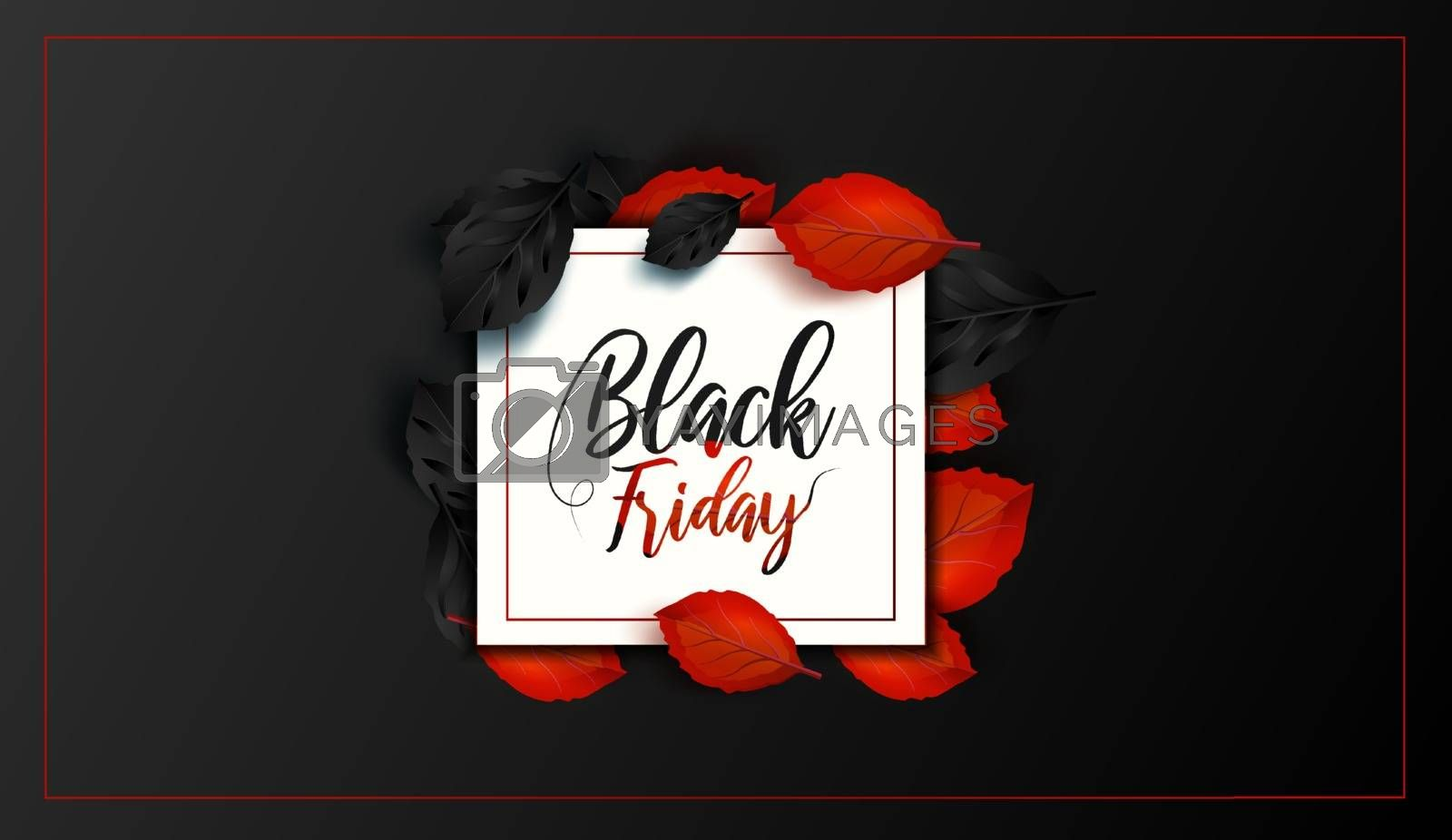 Black Friday. Sale and discounts flat trendy banners.  Black friday calligraphy in square with black and red leaves in the background. Vector illustration.