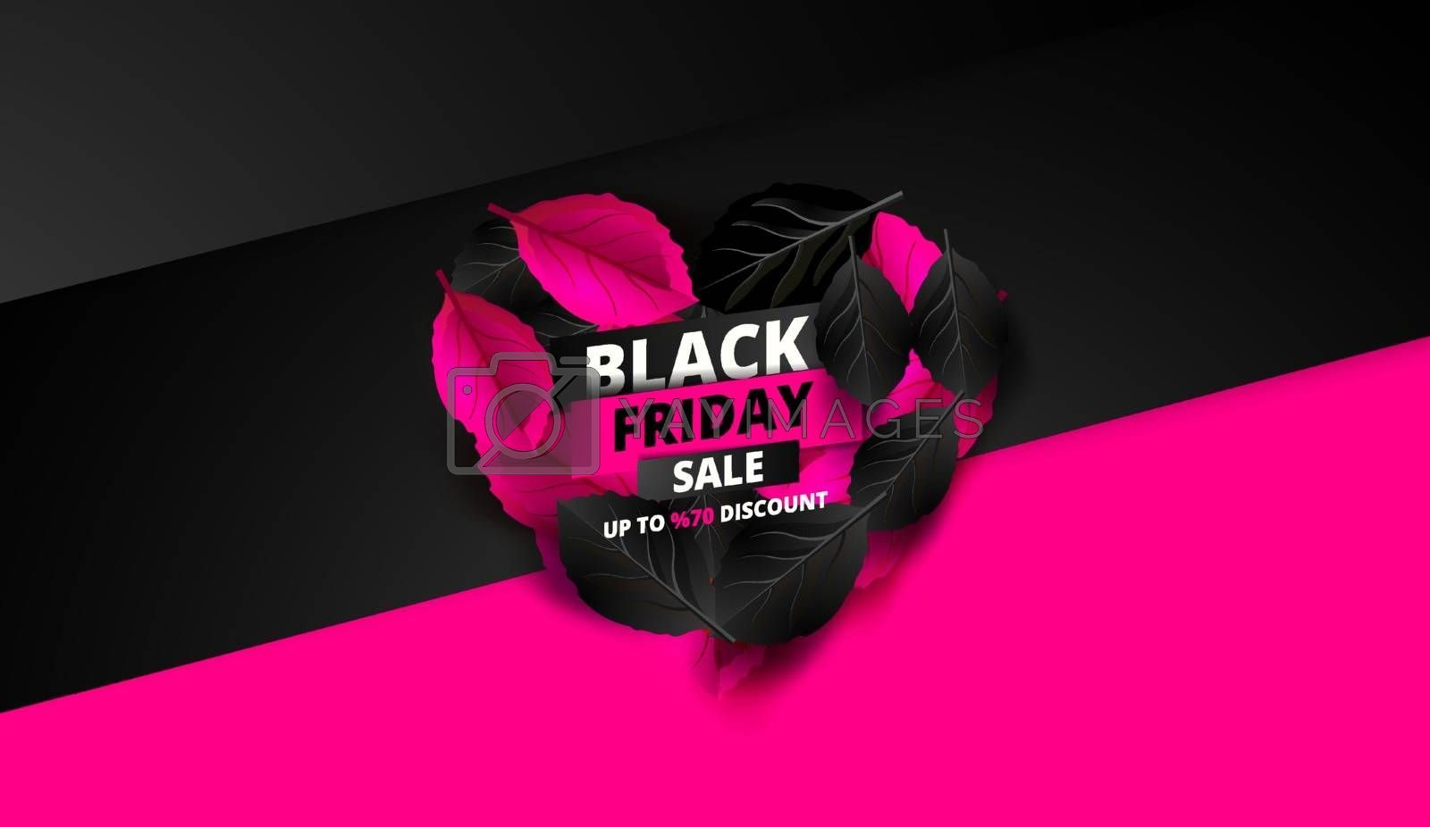 Black Friday. Sale and discounts flat trendy banners.  Black friday calligraphy in heart with  pink leaves in the background. Vector illustration.