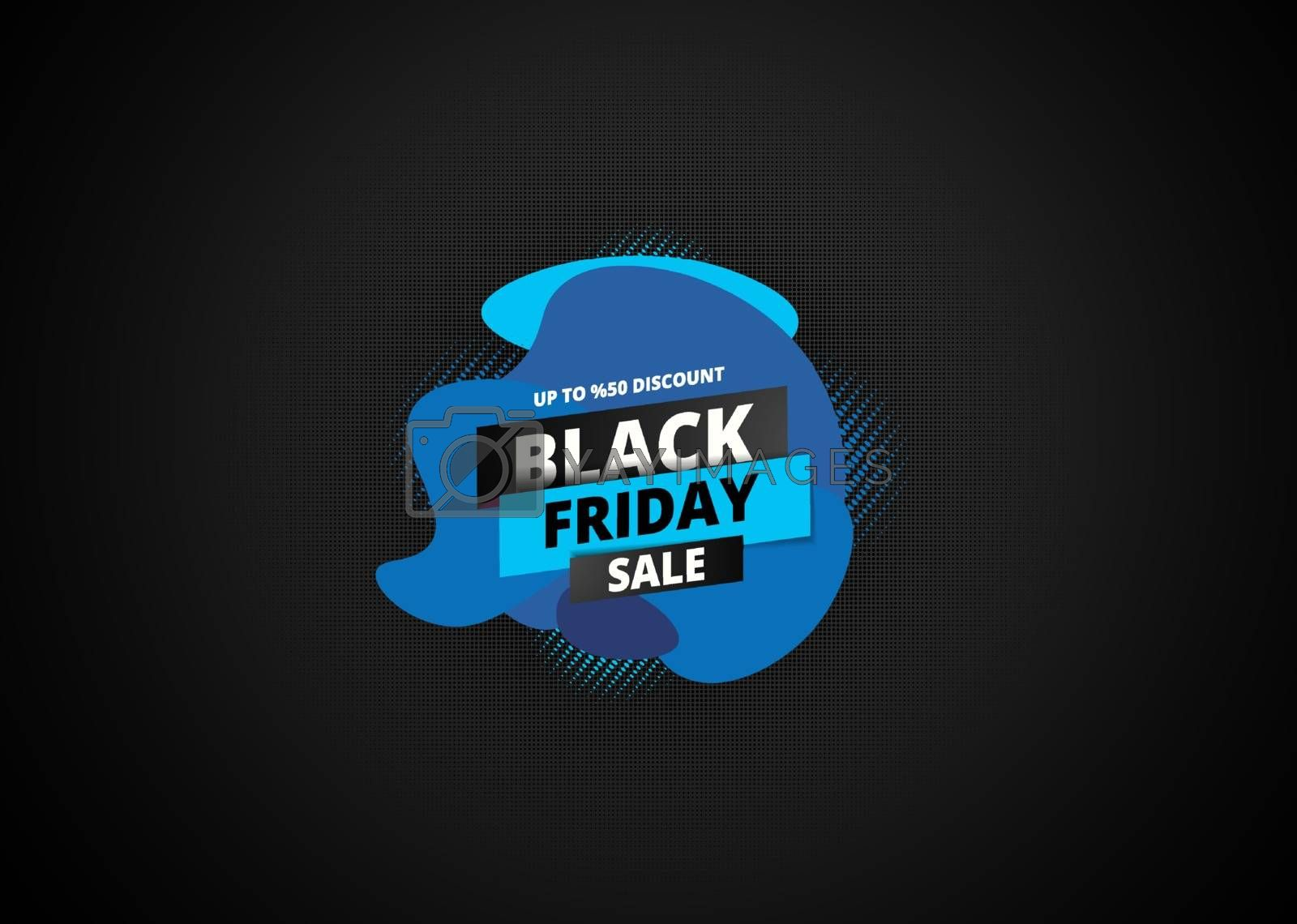 Upto 50% discount offer for Black Friday Sale text on halftone effect background. Can be used as poster or template design.