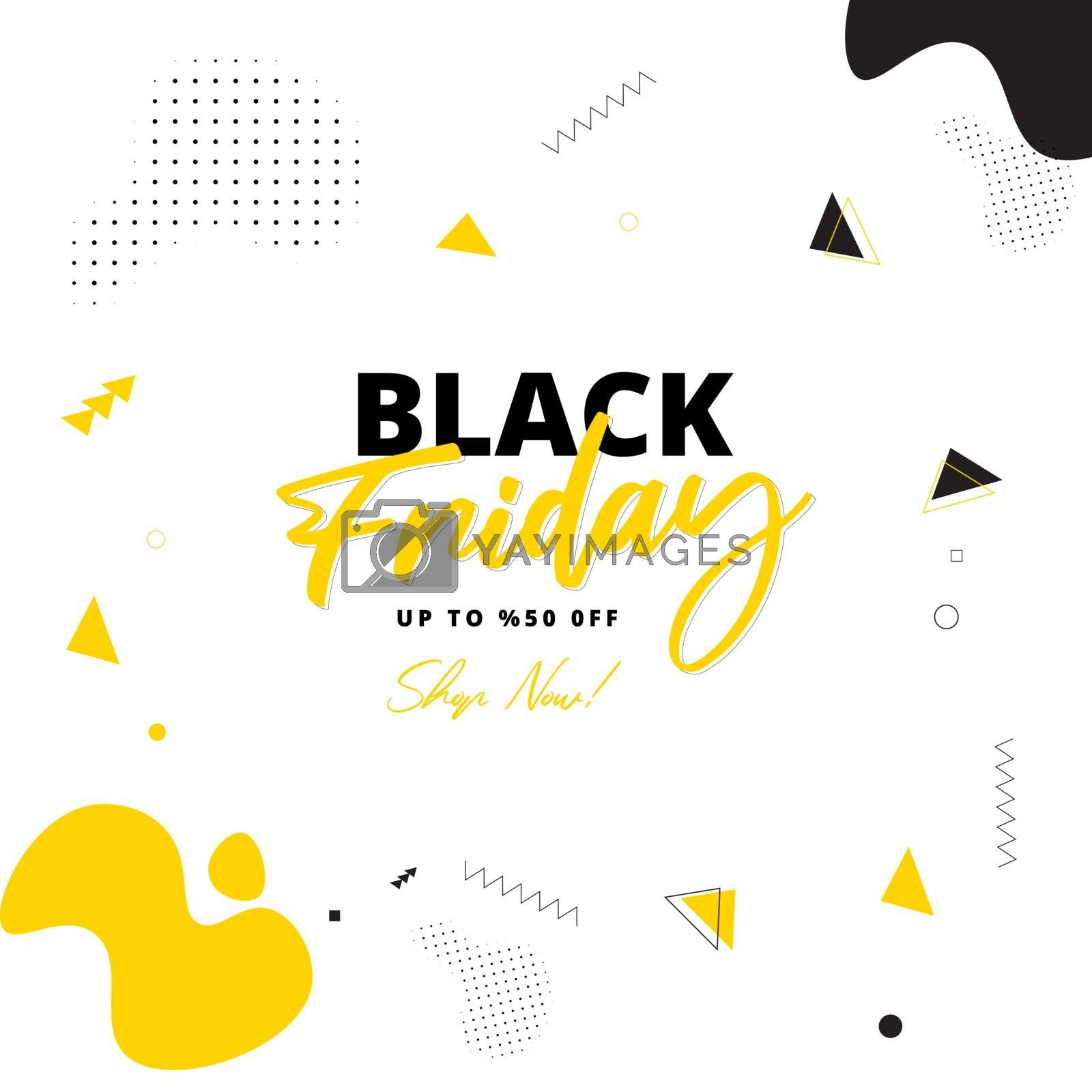 Black Friday Sale poster or template design with 50% discount offer on yellow abstract background.