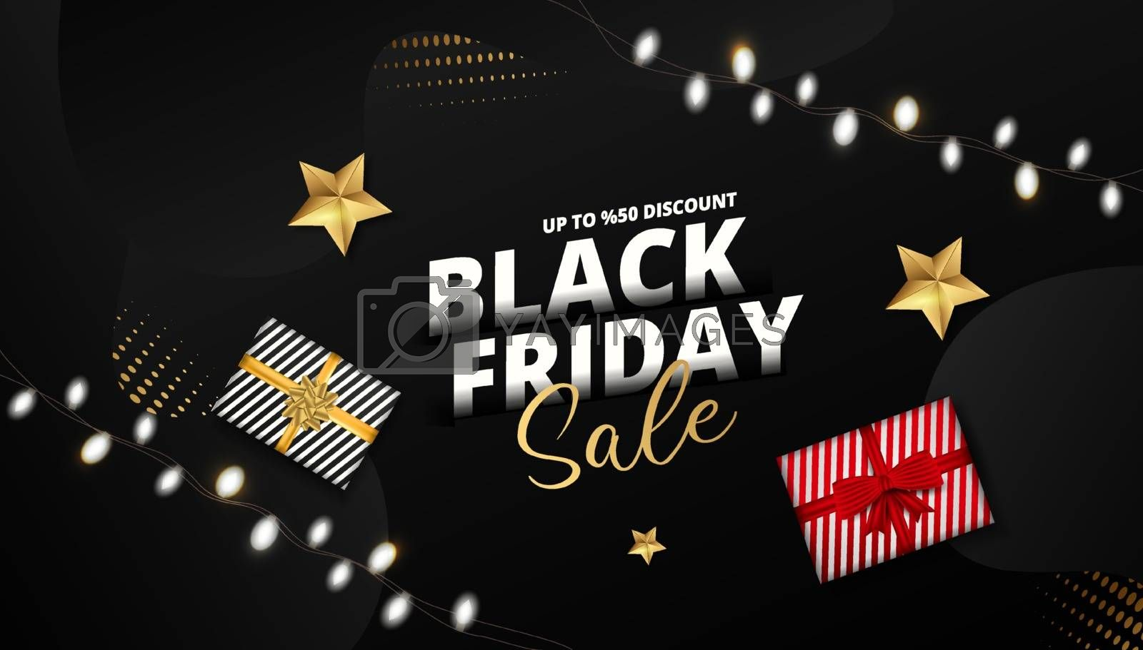 Website header or banner design decorated with top view of gift boxes, garland, golden stars and 50% discount offer for Black Friday Sale.