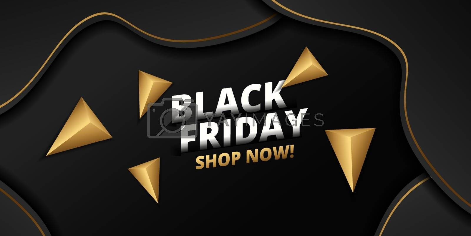 Black friday lettering, gold triangle around on black background. Can be used as poster or template design.