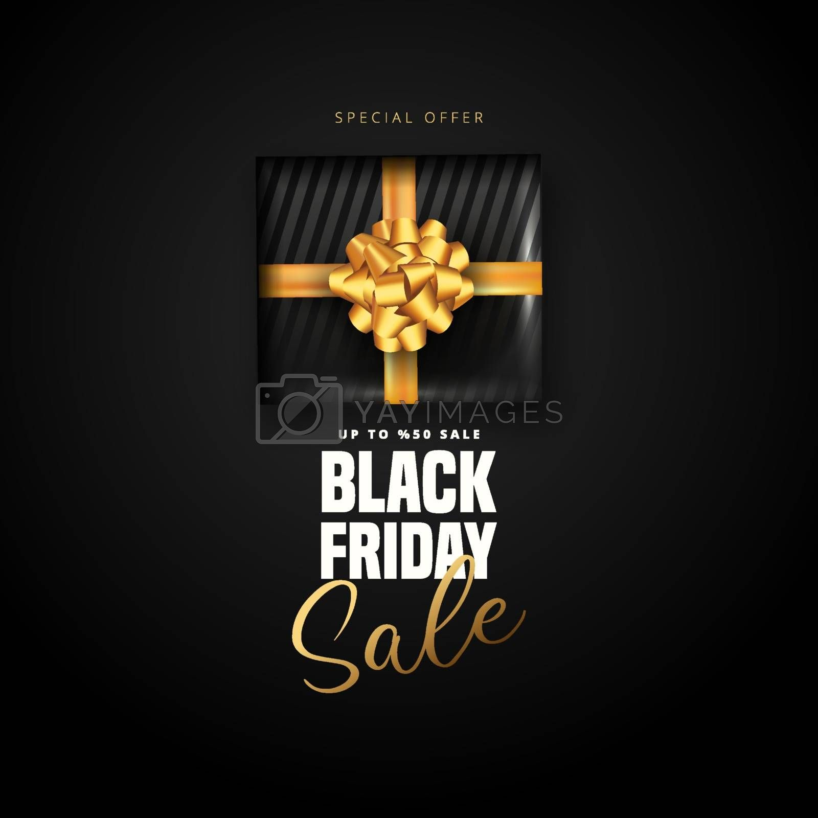 50% discount offer for Black friday sale lettering, Black gift box around on black background. Can be used as poster,banner or template design.