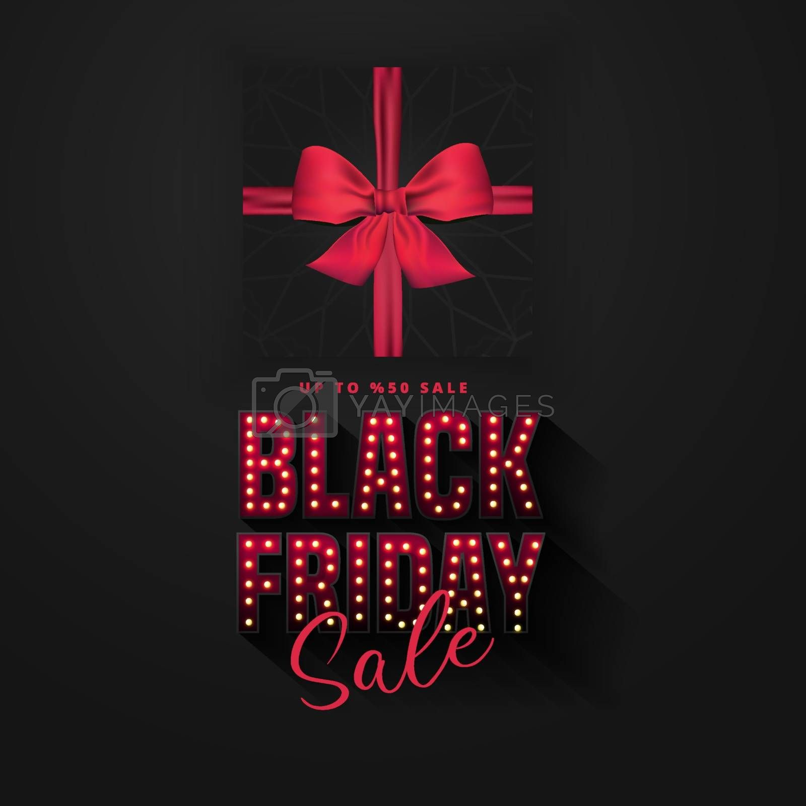Retro light bulbs sign Black friday sale banner layout design template. Banner and advertising poster design.Vector illustration.Realistic black gift box.