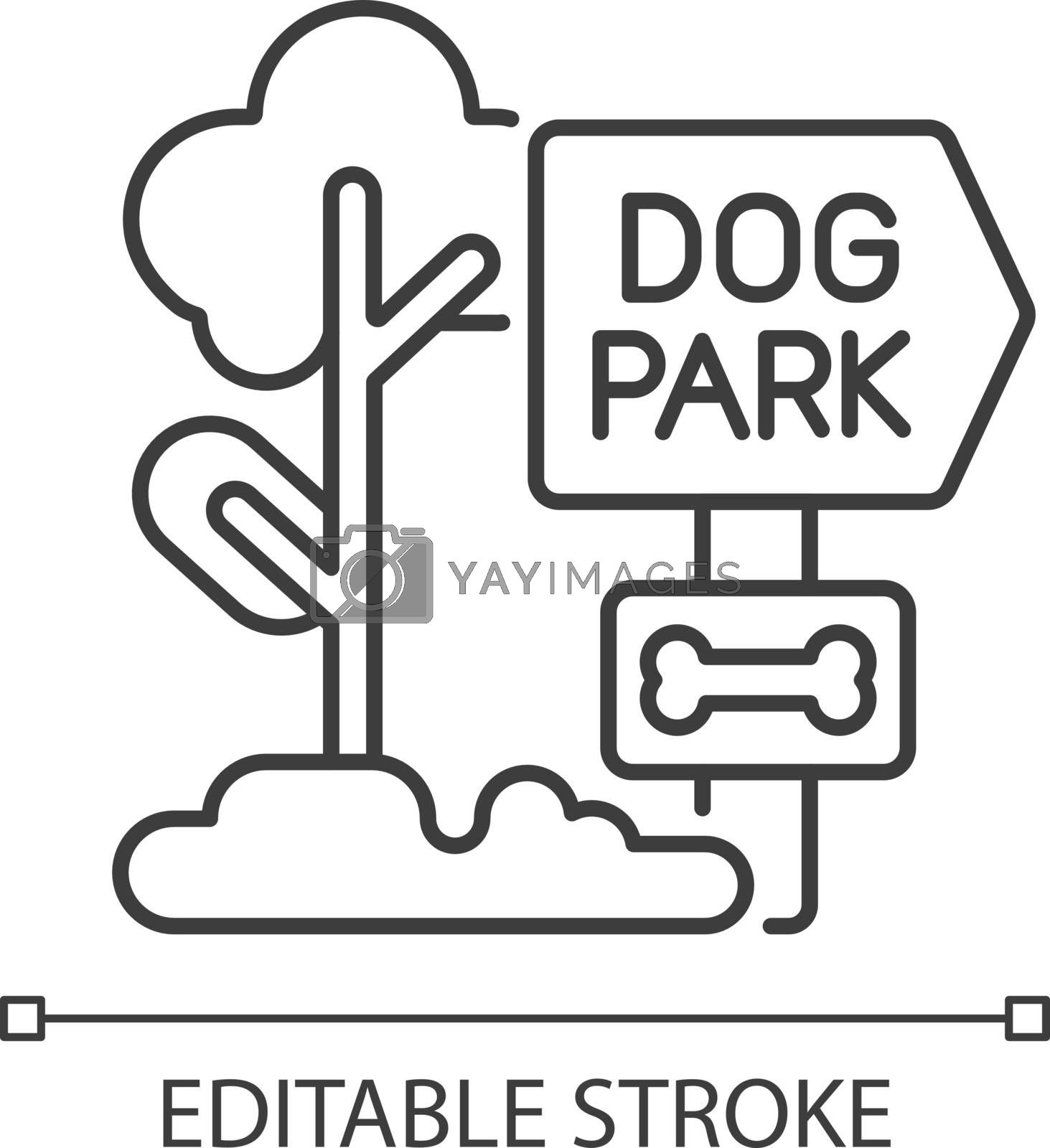 Dog park linear icon. Outdoor recreation with domestic animals. Pet care thin line customizable illustration. Contour symbol. Dog walking. Vector isolated outline drawing. Editable stroke