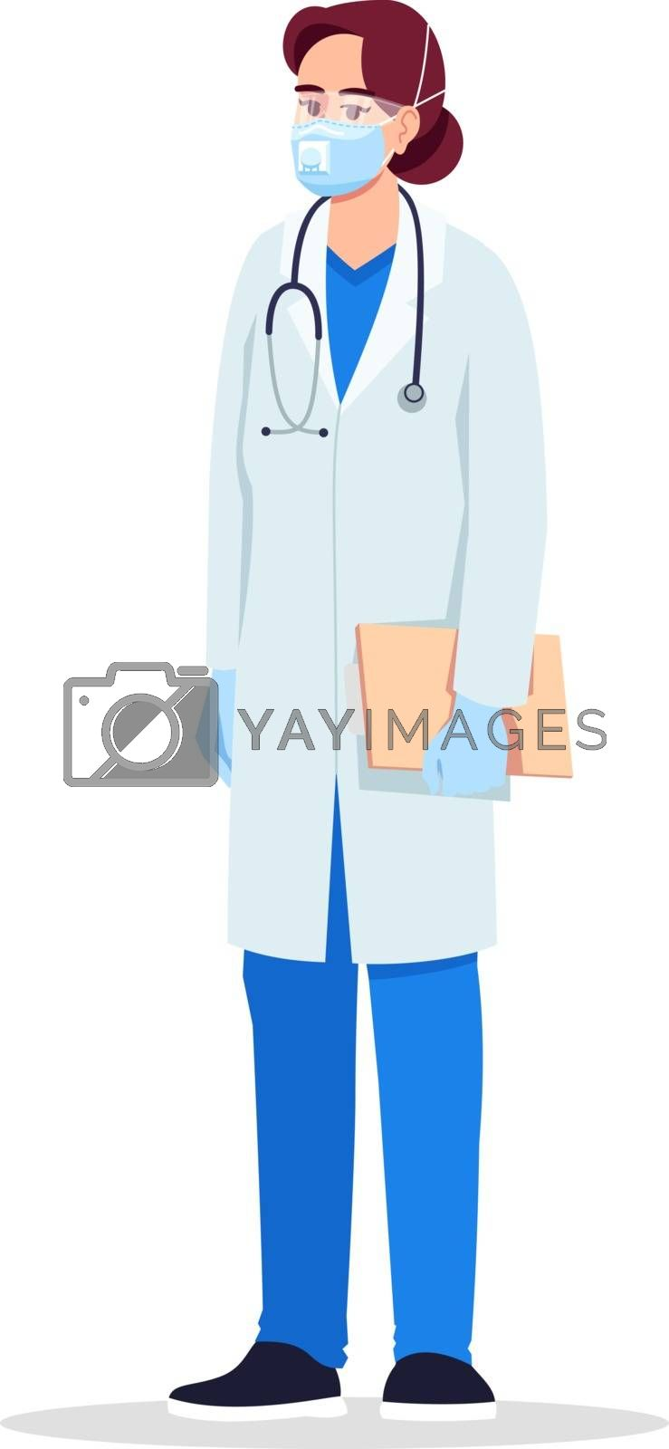 Infectious disease specialist semi flat RGB color vector illustration. Infectious disease doctor. Young european lady working as virologist isolated cartoon character on white background