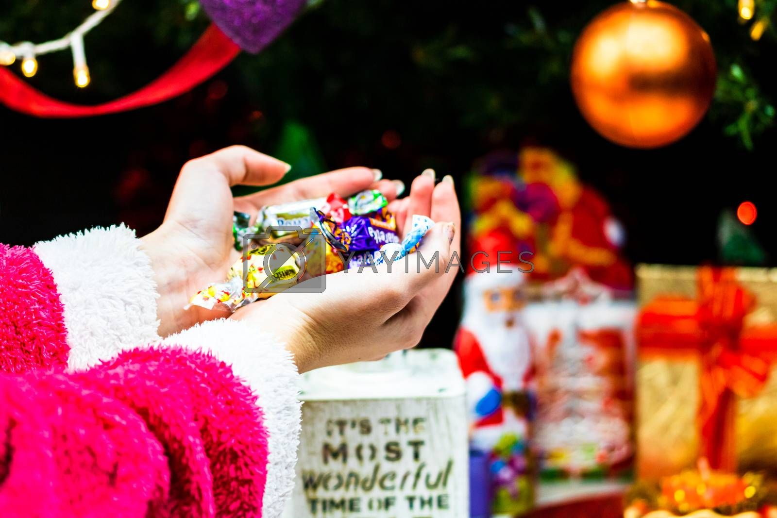 Hands holding candies in front of Christmas tree. Unpacking Christmas gifts isolated.