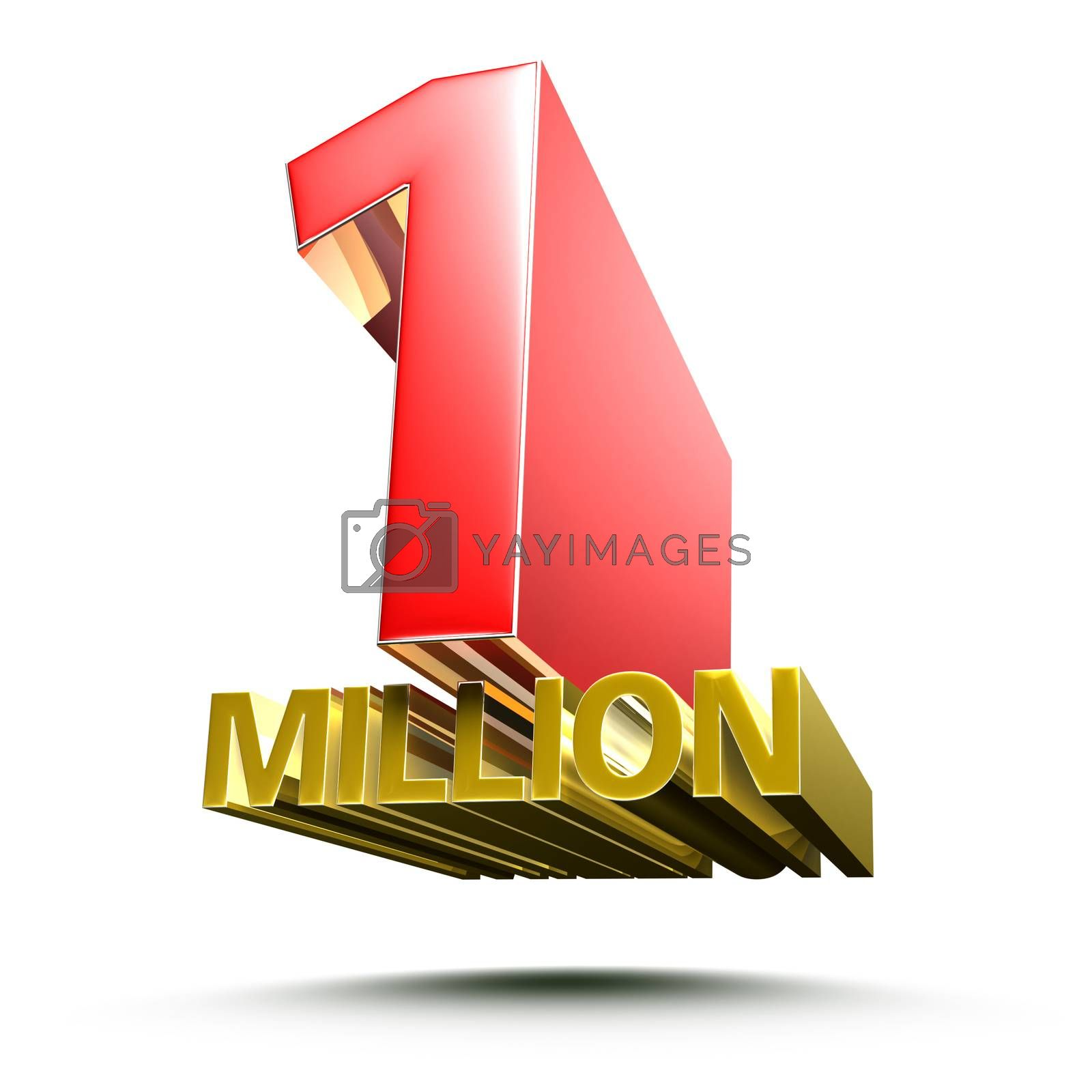 3D illustration 1 million isolated on a white background.(with Clipping Path).