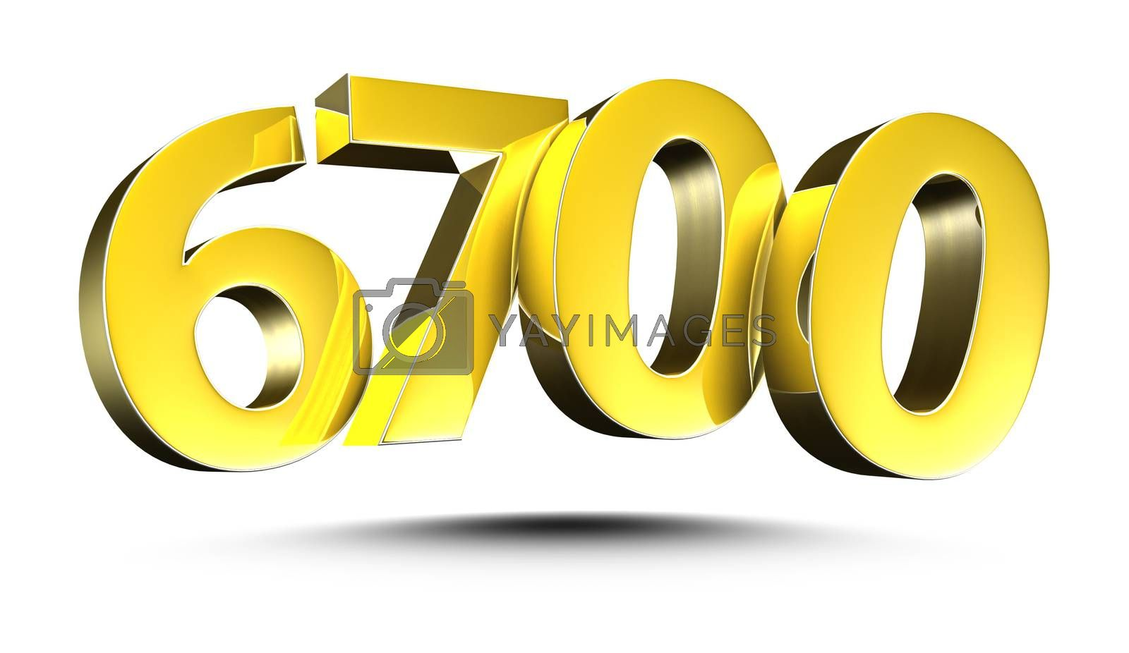 3D illustration Golden number 6700 isolated on a white background.(with Clipping Path).